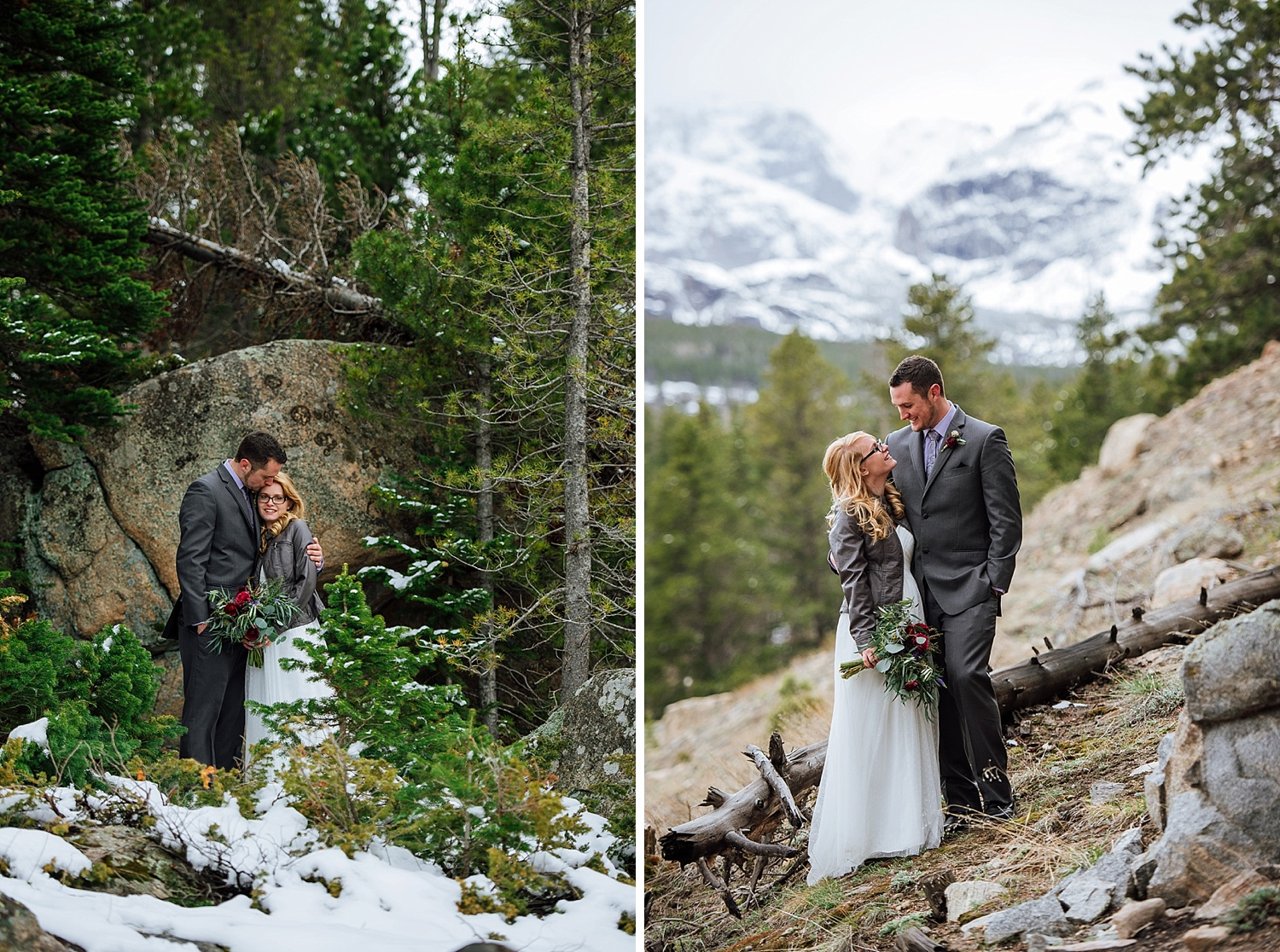 Winter weddings/ elopements are my favorite! There is something so comforting about winter time and being surrounded by the mountains - Rocky Mountain National Park is an amazing place, especially for a wedding! Photo by Maddie Mae Photography
