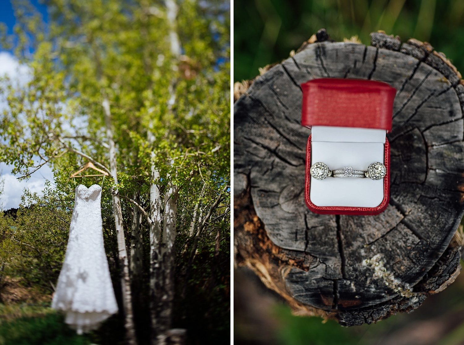 I love these detail photos in the aspen trees! And matching earrings with the ring! I want! Photo by Maddie Mae Photography
