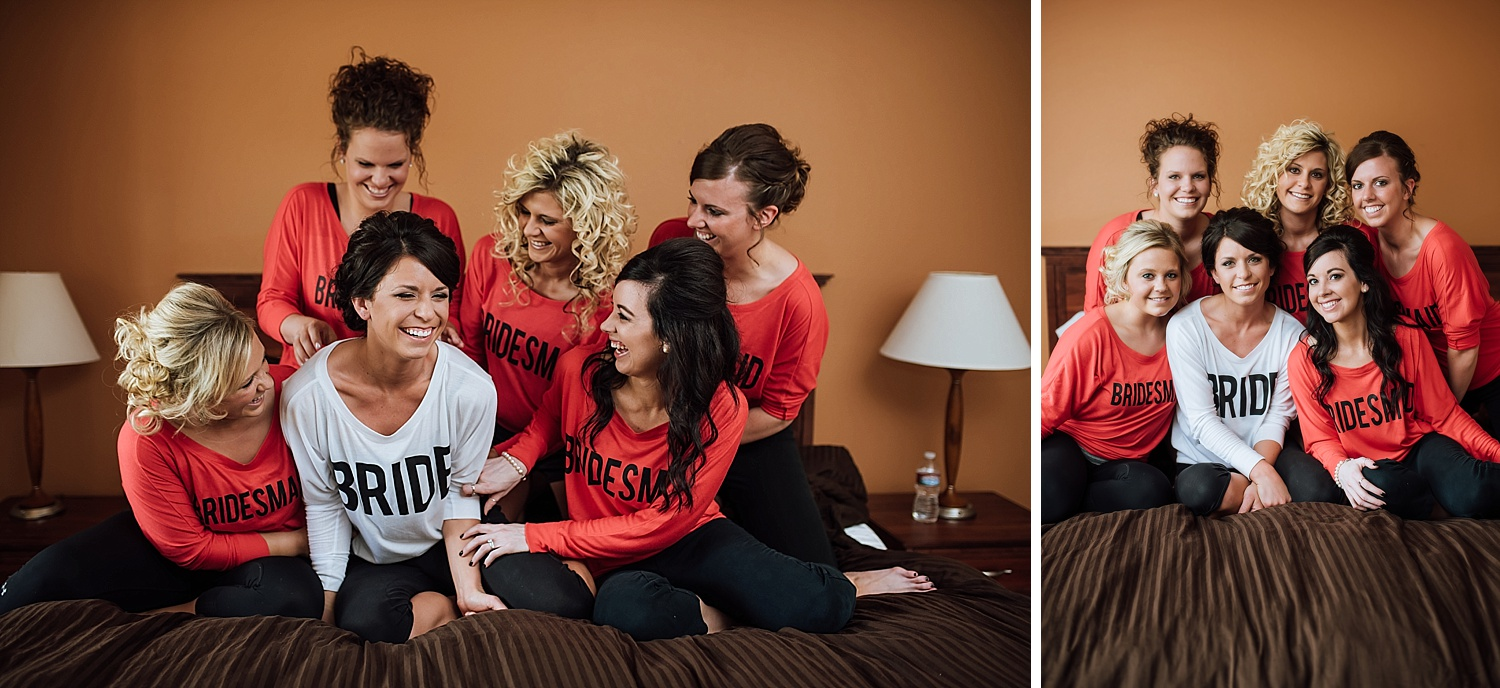 This is such a cute idea! Get matching shirts for the bride and bridesmaid for the big day! Photo by Maddie Mae Photography