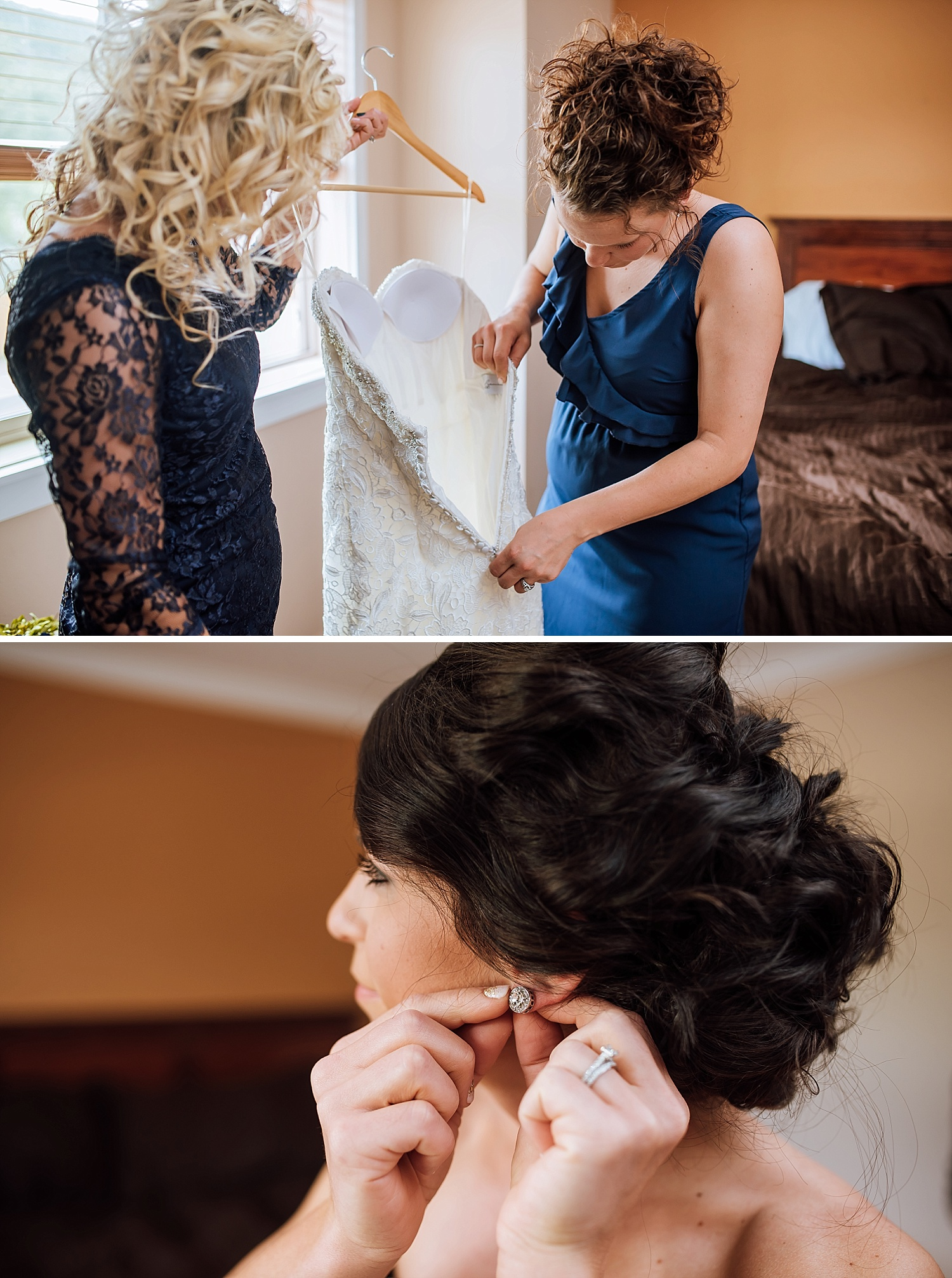 I love her earrings! So pretty and they work so well with her dress! Photo by Maddie Mae Photography