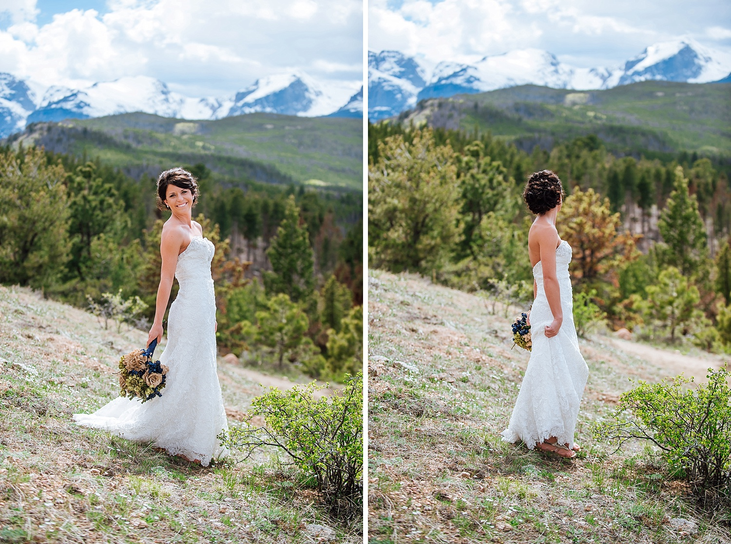 I love how there is still snow on the mountains behind these bridal photos. Colorado is perfect for a wedding venue! Photo by Maddie Mae Photography