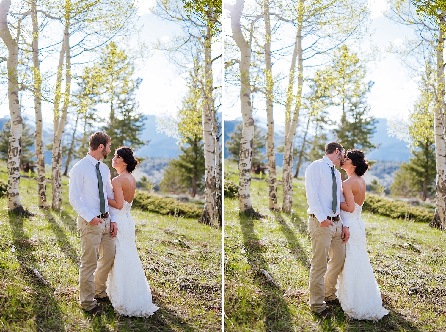 I love this meadow in Colorado with all the aspen trees in the background. Such sweet and calm wedding photos! Photo by Maddie Mae Photography