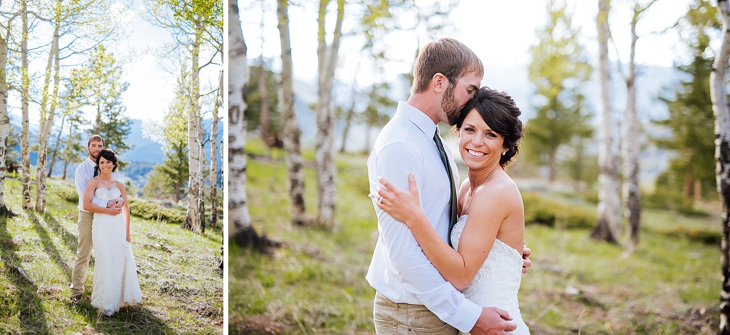 Rocky Mountain National Park is a beautiful place for a Spring/Summer wedding! Look at how beautiful those aspen trees are! Photo by Maddie Mae Photography