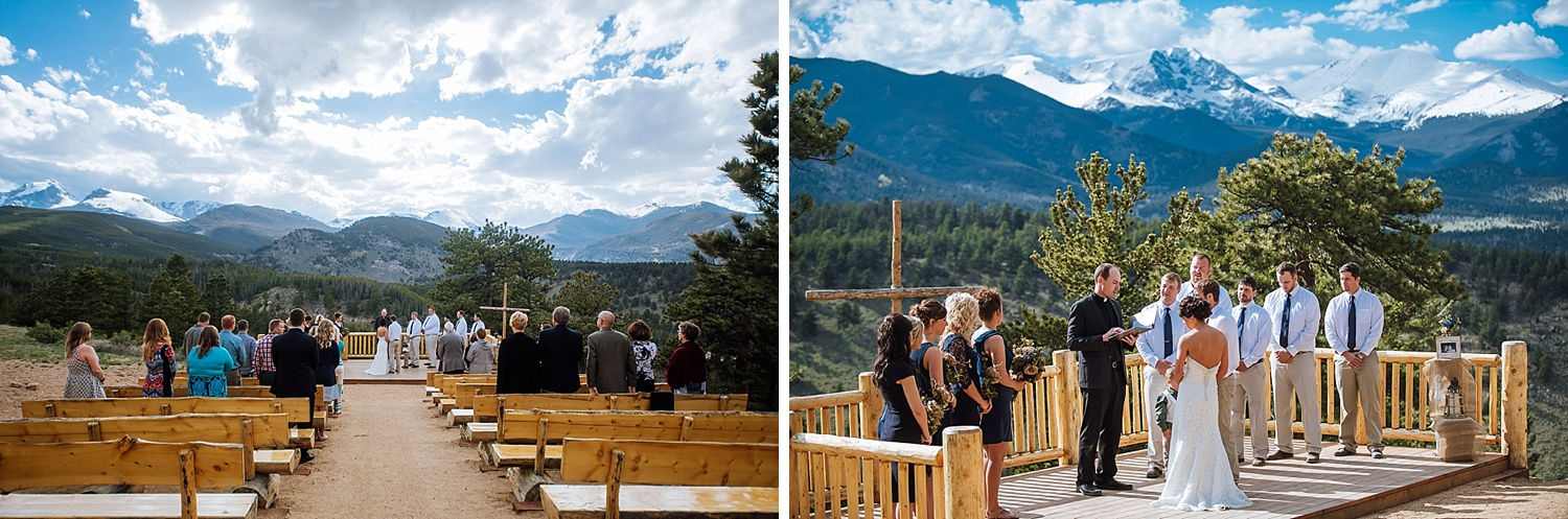 The view from Overlook Chapel in Estes Park is beautiful! Mountain weddings are so incredible - lucky to live in Colorado. Photo by Maddie Mae Photography