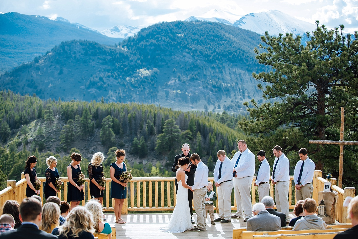 YMCA of the Rockies has a separate wedding location called the Overlook Chapel. It is such a nice place for an intimate mountain wedding. Photo by Maddie Mae Photography