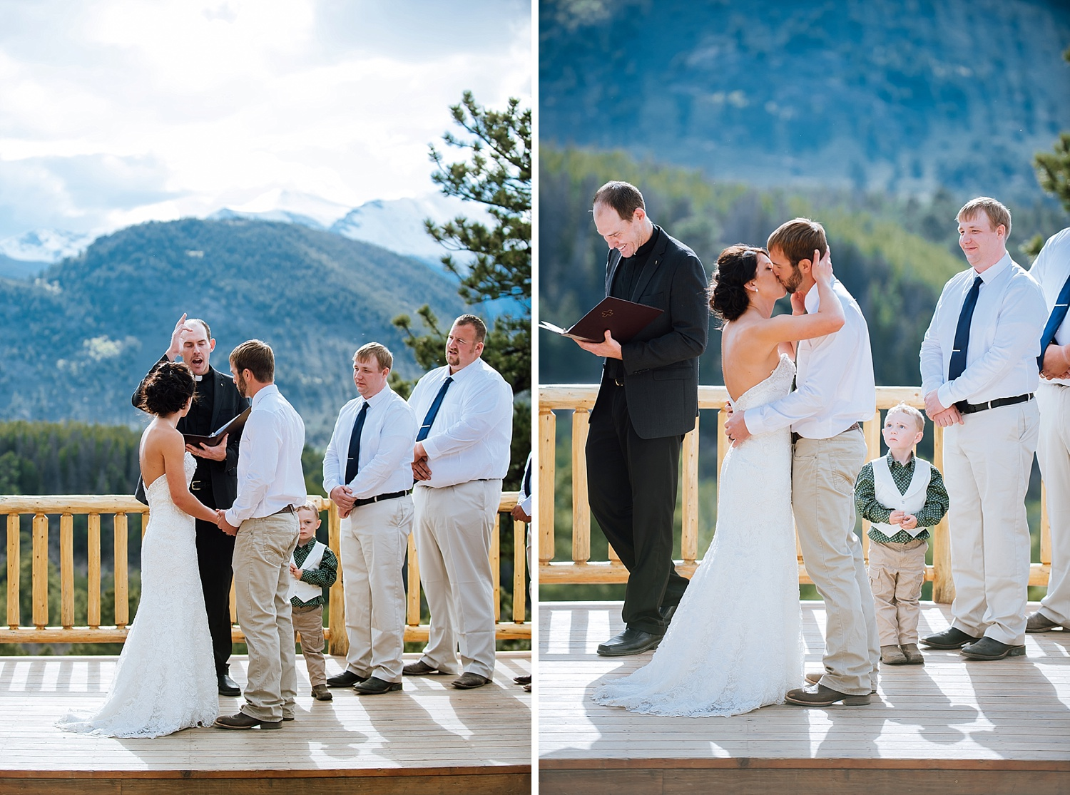 This first kiss is so beautiful especially with those mountains in the background! Estes Park is a beautiful wedding location. Photo by Maddie Mae Photography