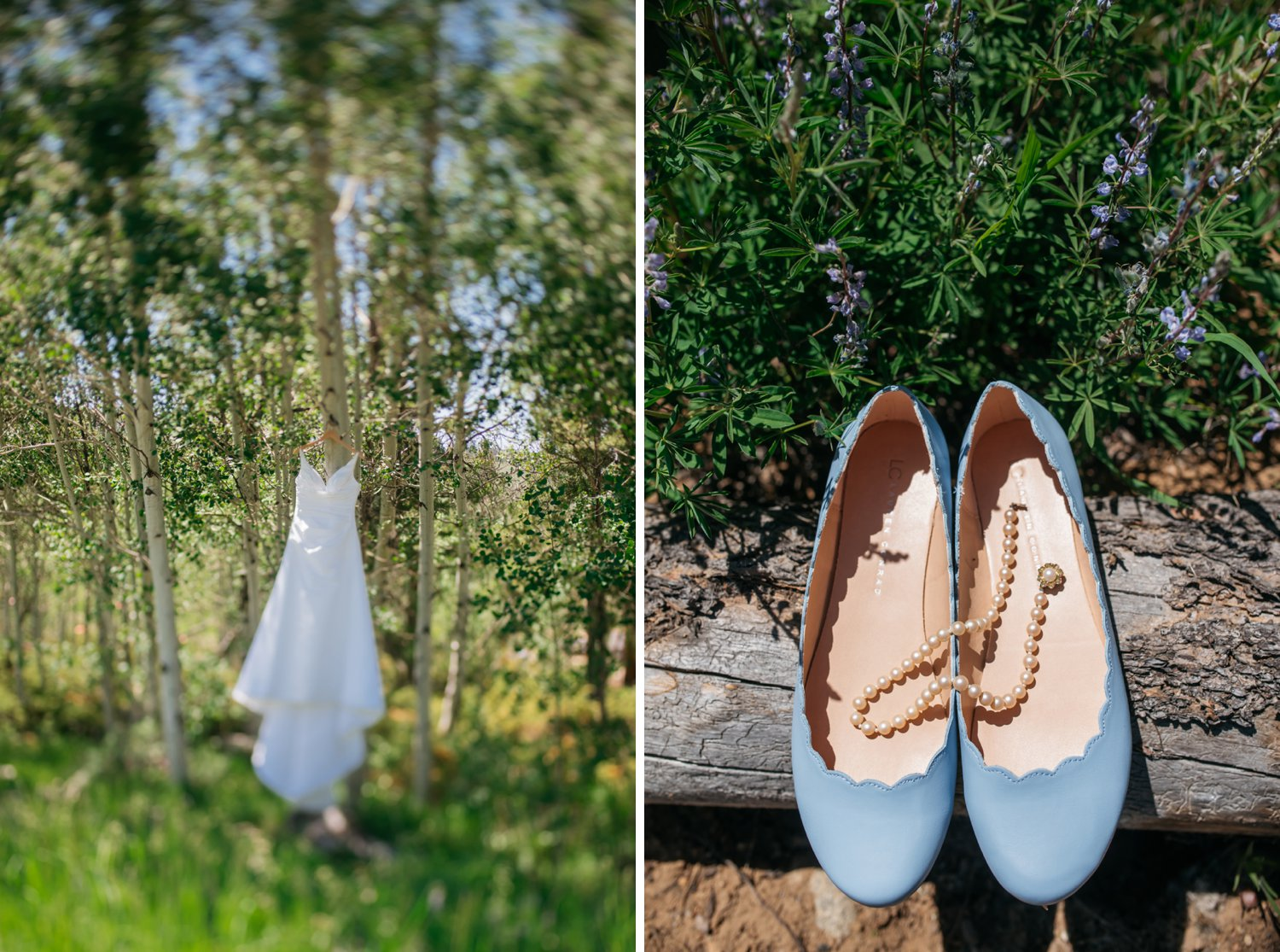 I love these matte grey flats for wedding shoes. Super practical. Also, the peals add the perfect amount of class with this dress. Photo by Maddie Mae Photography