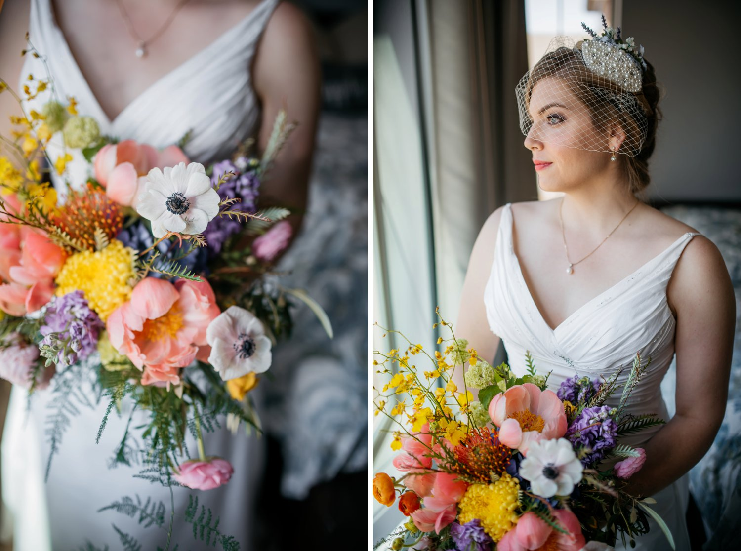 The blush pink, lilac, lavender, white, yellow, orange and green color scheme in this wildflower bouquet is beautiful. Also, the sparkle headband works so well with the birdcage veil. Photo by Maddie Mae Photography
