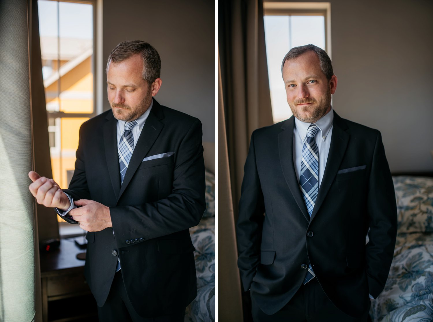 Groom getting ready and adjusting his cufflink photo! Photo by Maddie Mae Photography