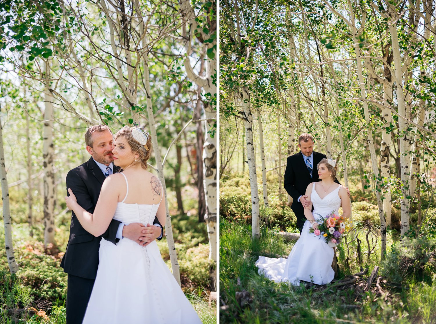 The bride sitting down among the aspen trees with the groom hugging her - this is beautiful! Perfect place for a mountain wedding! Photo by Maddie Mae Photography