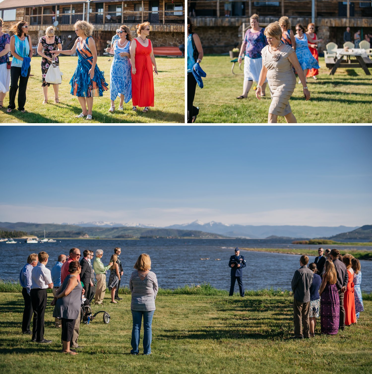 Grand Lake, Colorado wedding - with the ceremony on the edge of the lake overlooking the mountains. Intimate mountain weddings are the best! Photo by Maddie Mae Photography