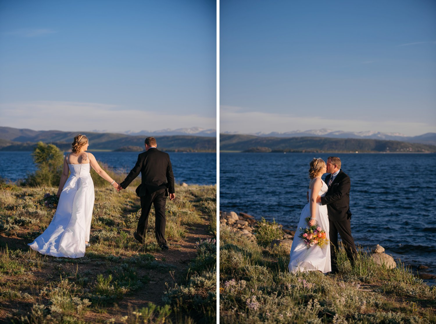 Beautiful lake wedding and couple photos in Colorado! Photo by Maddie Mae Photography