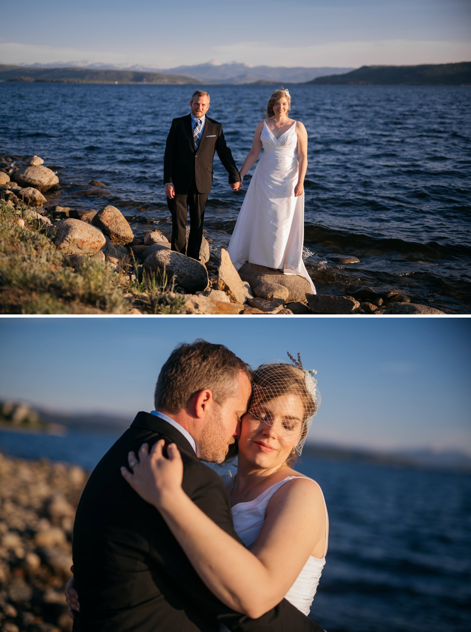 Bride and Groom photos at Grand Lake, Granby Colorado. Photo by Maddie Mae Photography