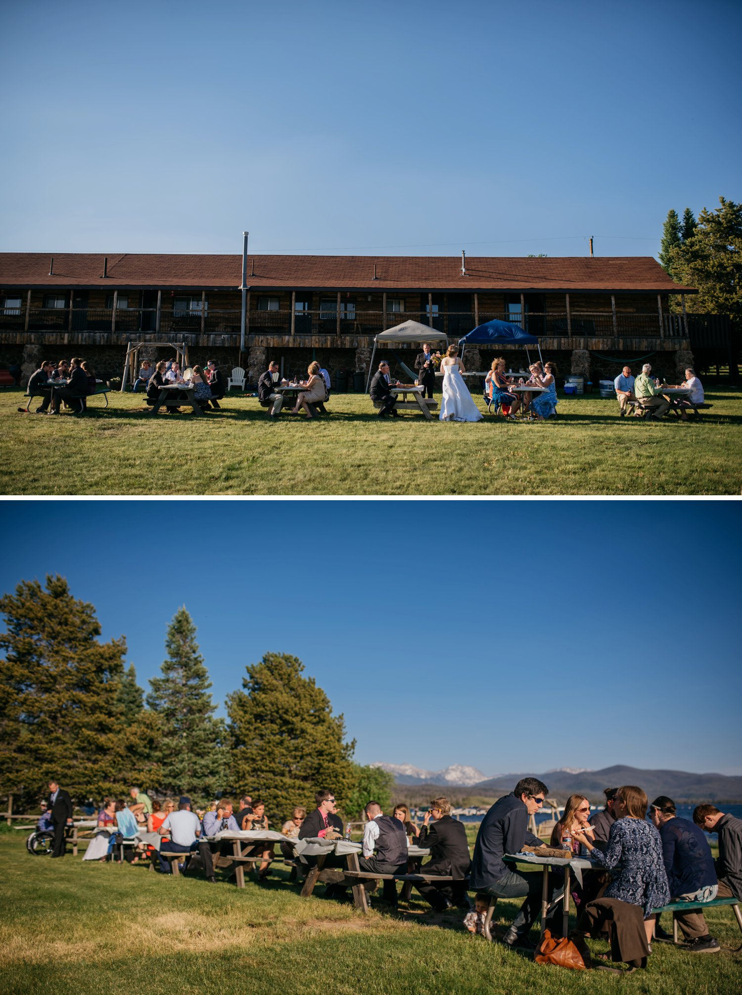 Fun wedding ceremony at Grand Lake where the guests ate at picnic tables by the lake. Photo by Maddie Mae Photography