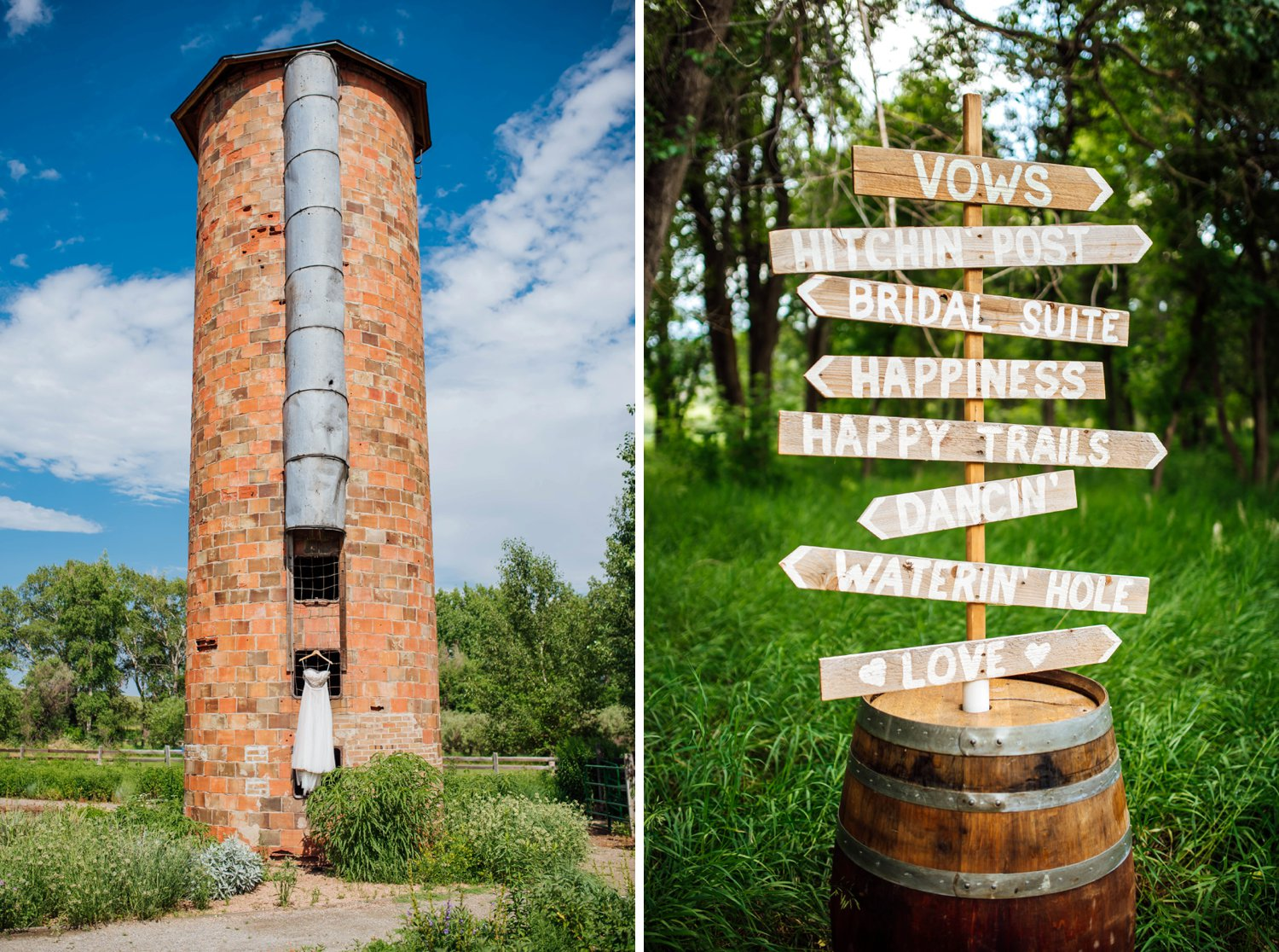 I love the Denver Botanic Gardens at Chatfield! This brick tower is beautiful. Also, the wooden signs in the barrel is such a cute idea to direct guests!Photo by Maddie Mae Photography