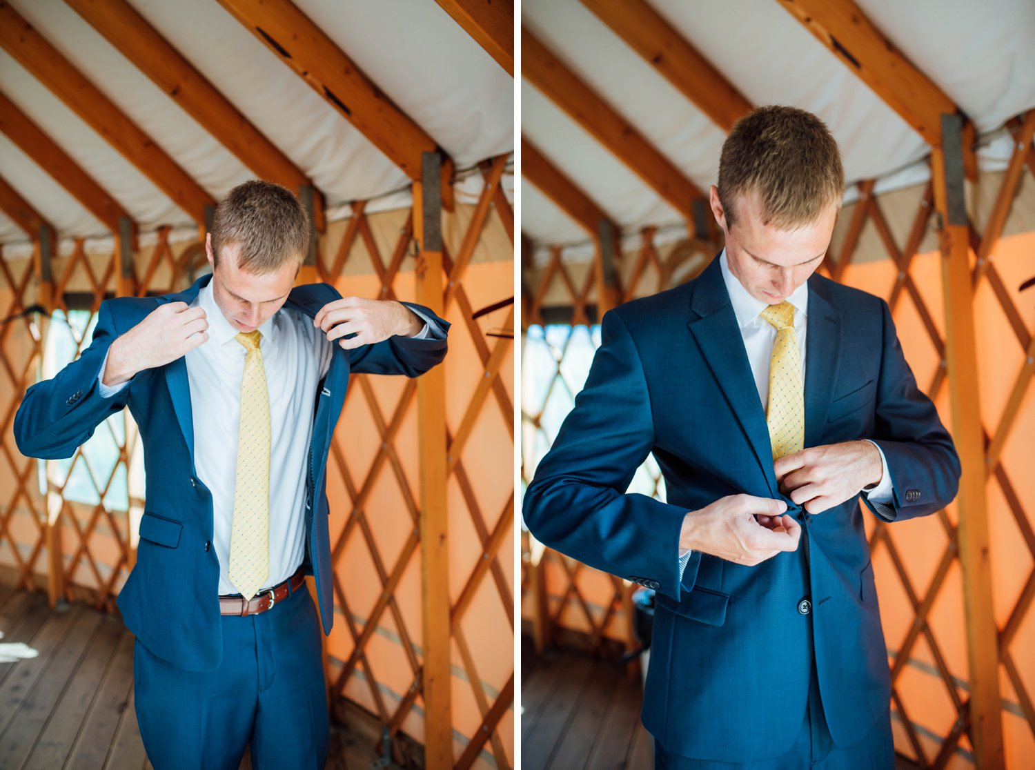 I love how these groom's quarters were in a tent! This is such a great idea! I also love his bright blue suit- it's perfect!Photo by Maddie Mae Photography
