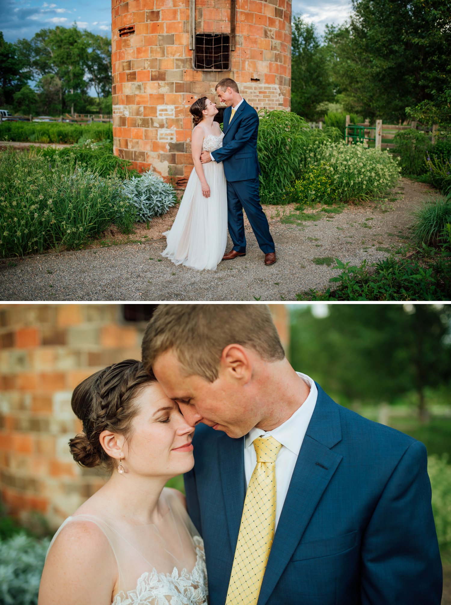 These photos are so sweet with the bride and the groom standing in front of the brick tower at the Denver Botanic Gardens in Chatfield.Photo by Maddie Mae Photography