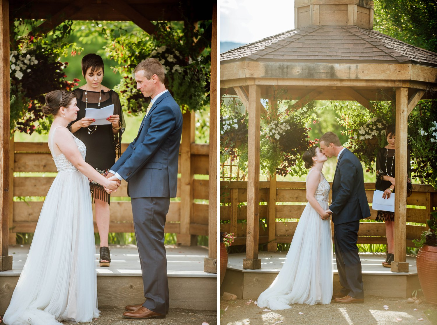 I love wedding ceremonies underneath gazebos, there is something so magical about summer weddings.Photo by Maddie Mae Photography