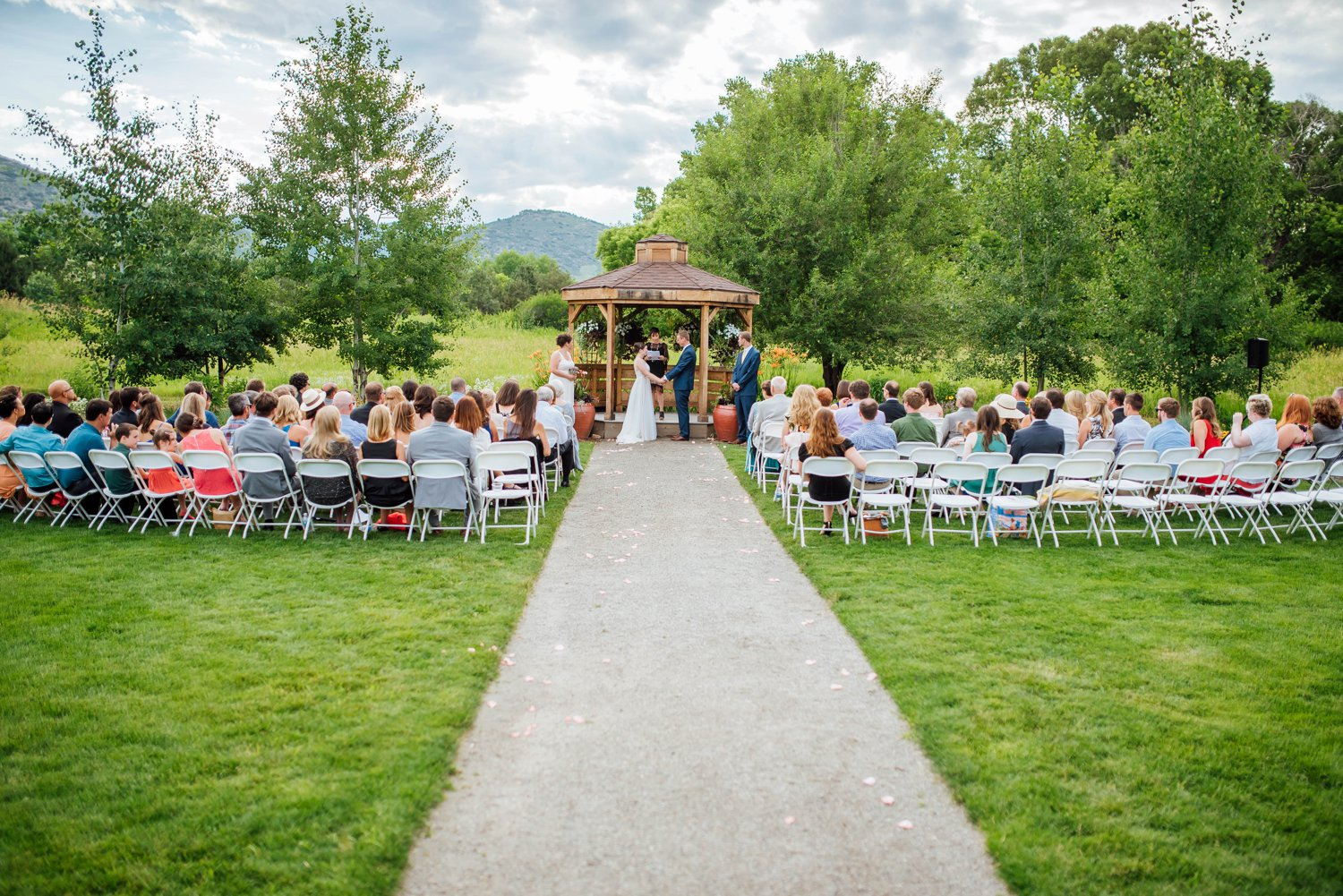 The outdoor chapel at the Denver Botanic Gardens at Chatfield is an awesome venue for a Colorado summer wedding.Photo by Maddie Mae Photography