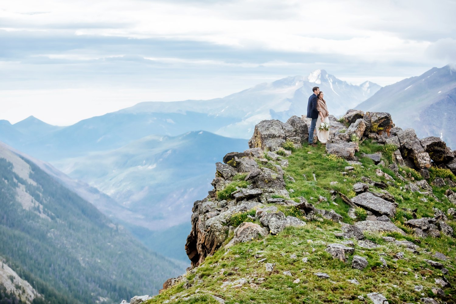What a beautiful wedding location! Rocky Mountain National Park is so incredible with its breathtaking views. Photo by Maddie Mae Photography