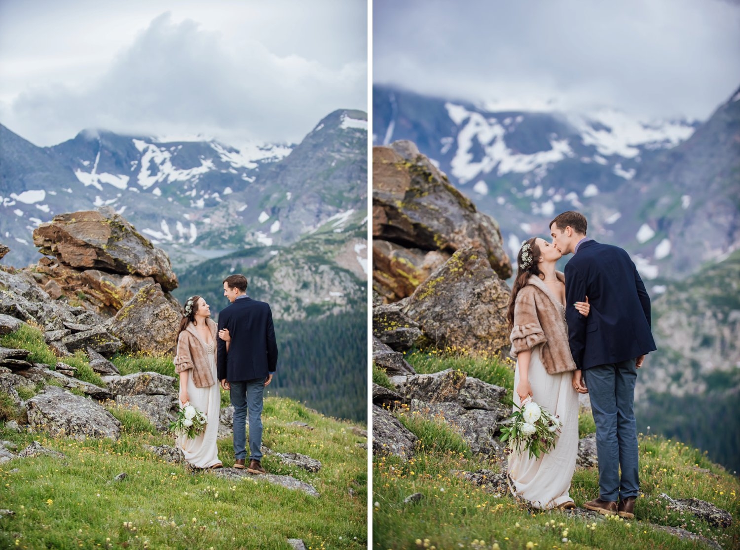 The giant rocks and the snowy mountains are the best backdrop for this colder, spring mountain wedding. Photo by Maddie Mae Photography