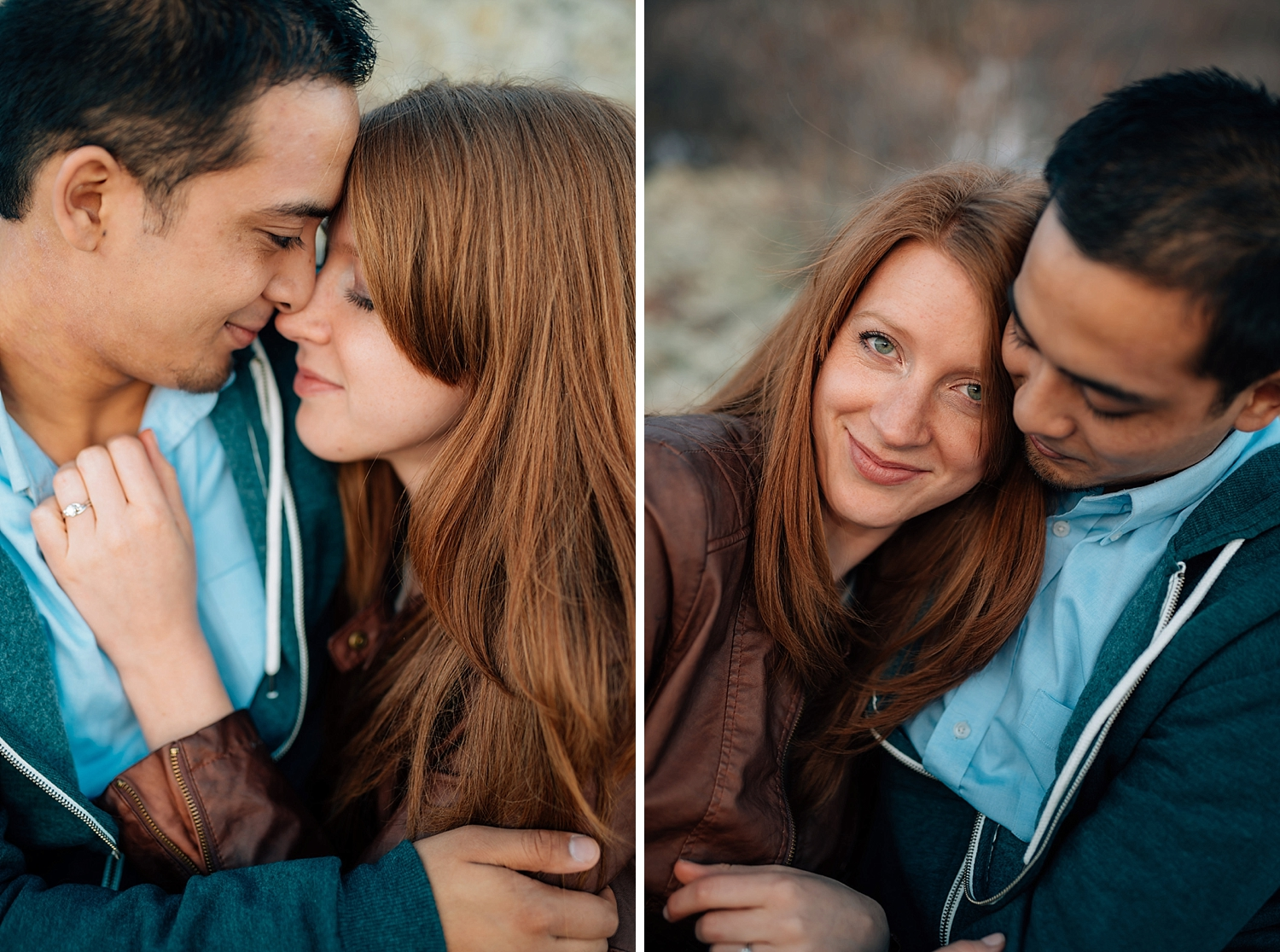 The way the sun hits her red hair is so beautiful. They look so happy in these Colorado mountain engagement photos!Photo by Maddie Mae Photography