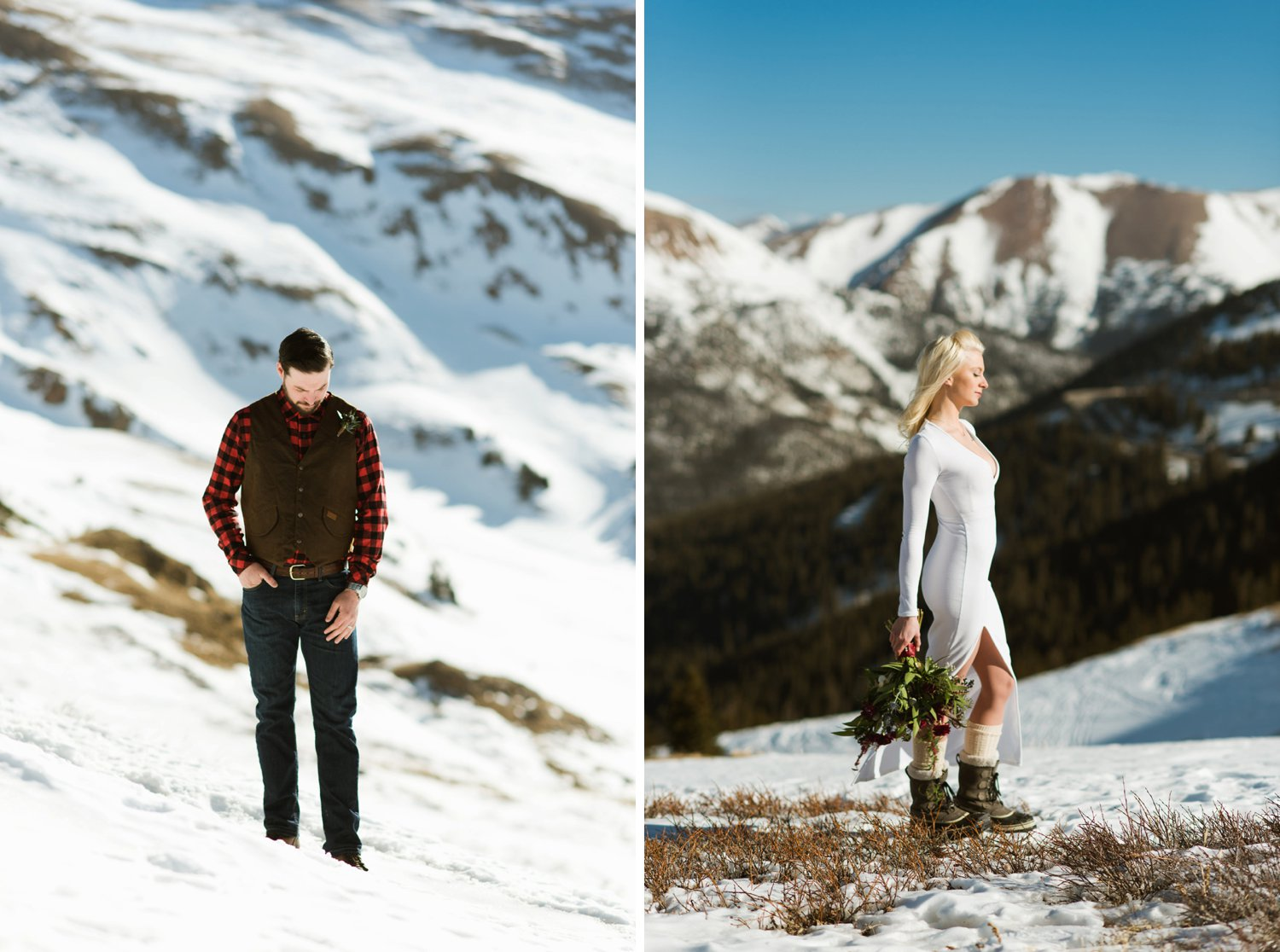 Britta & Colin look so good with this incredible mountain backdrop! A-basin is the place to elope!| Adventurous couple photography by Maddie Mae