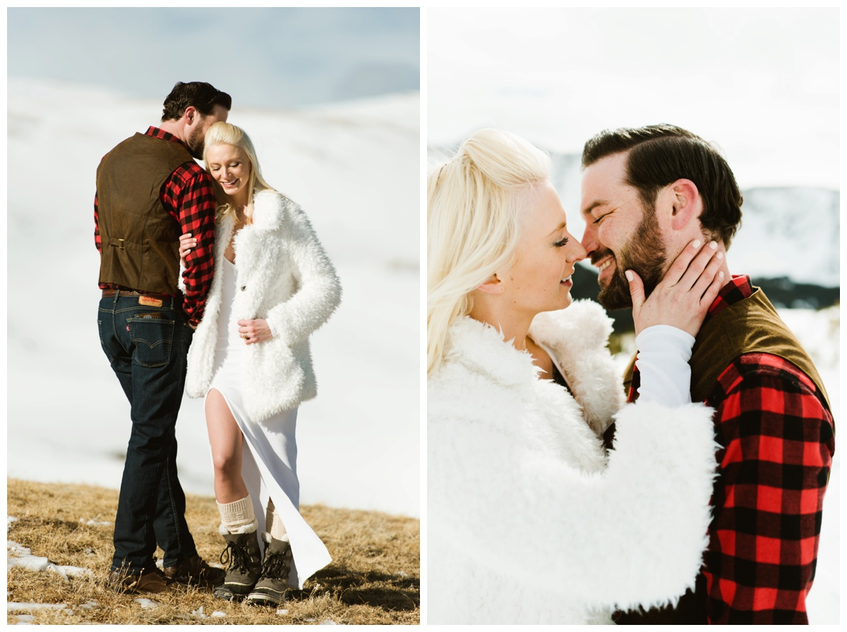 I'd like to cuddle up on a mountainside with my new husband! This adventurous couple got married on the side of a mountain in Keystone, Colorado!| Intimate elopement photo by Maddie Mae