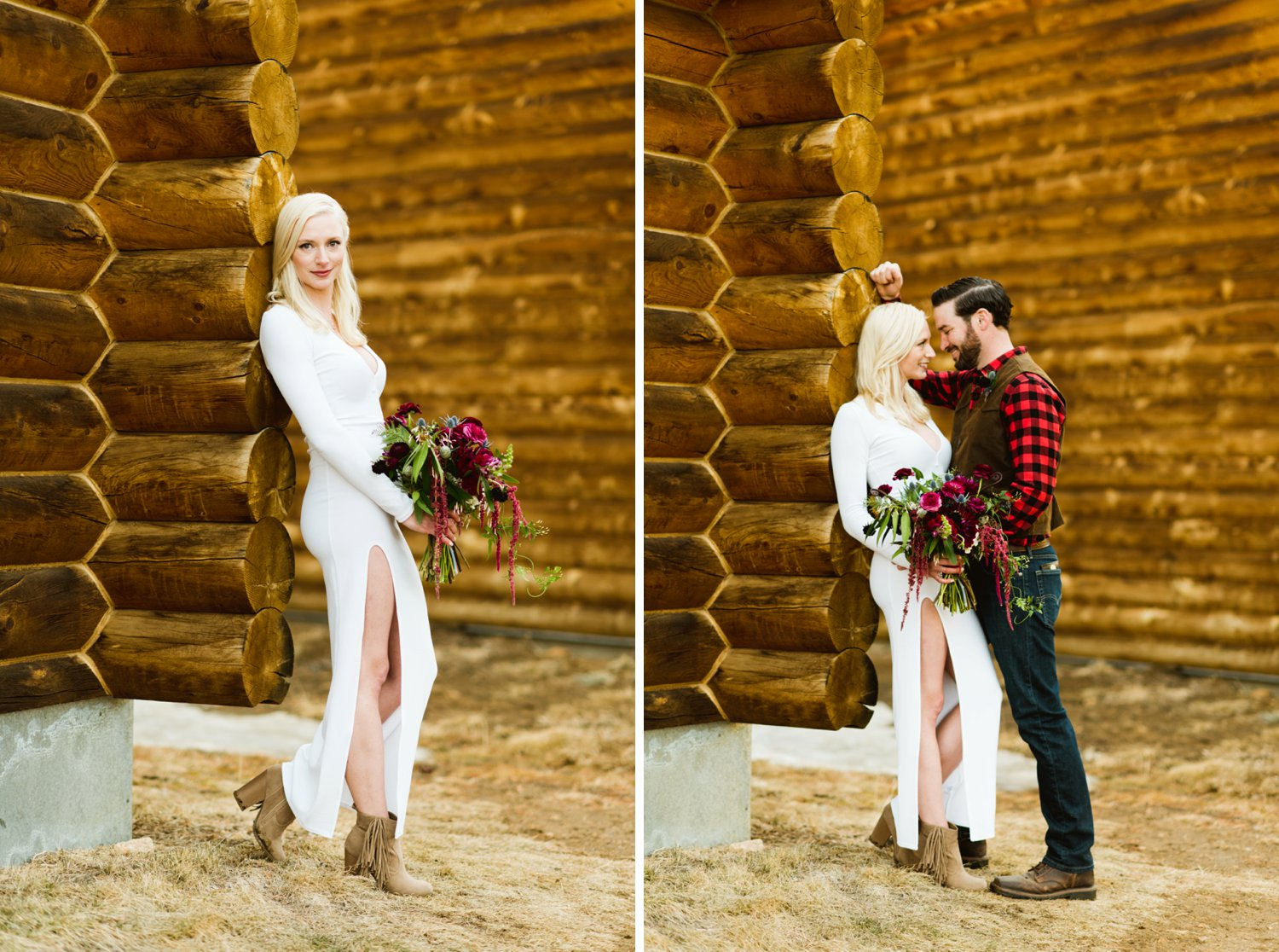 Amazing mountain elopement photos at a rustic cabin in Black Hawk, Colorado! | Photo by adventurous elopement photographer, Maddie Mae