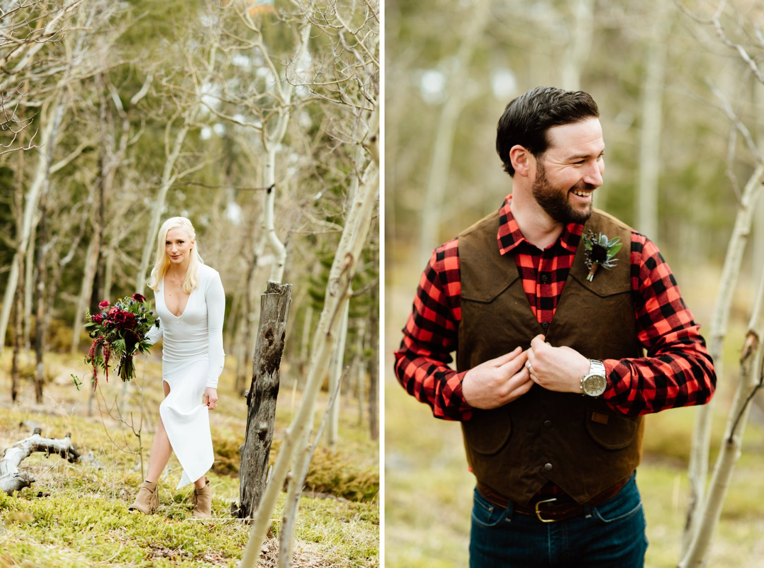 A whimsical and romantic forest elopement in a woodland in the Rocky Mountains. Colorado's rustic Aspen trees in Black Hawk could not have made a better setting for this adventurous elopement. | Photo by Maddie Mae