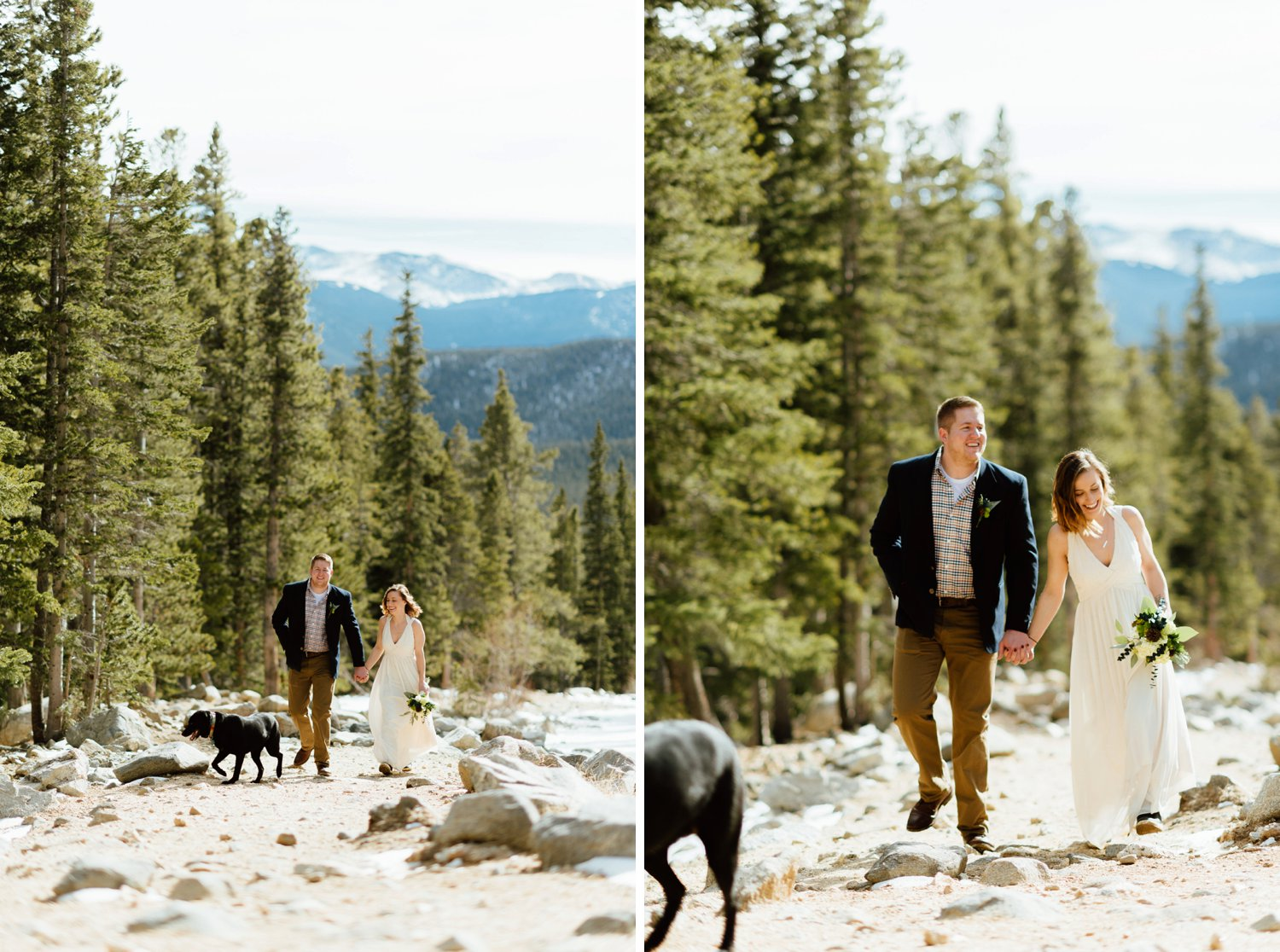I love that this husband-and-wife-to-be brought their dog to their rustic, mountain elopement! Such an intimate way to tie the knot in Idaho Springs, Colorado.| Mountain elopement photos by adventure wedding photographer, Maddie Mae.
