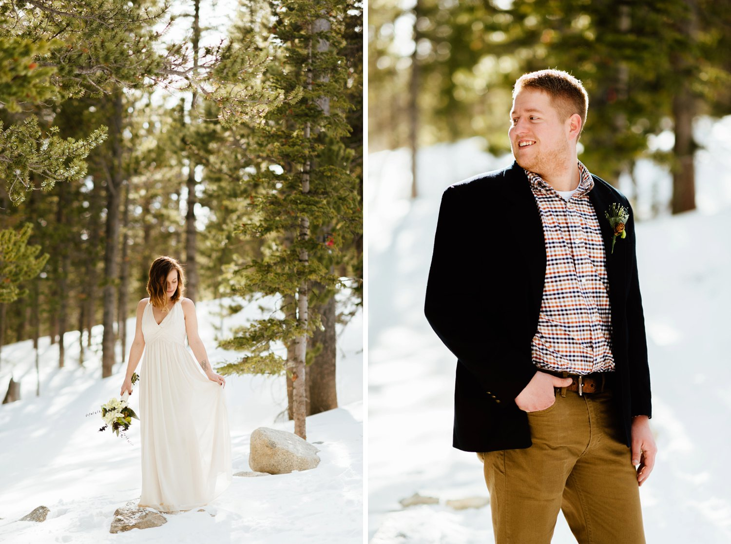 I want to wear a drapey, ivory dress for my wedding! Love the groom's casual wedding attire too!| Mountain wedding pictures by intimate elopement photographer,Maddie Mae.