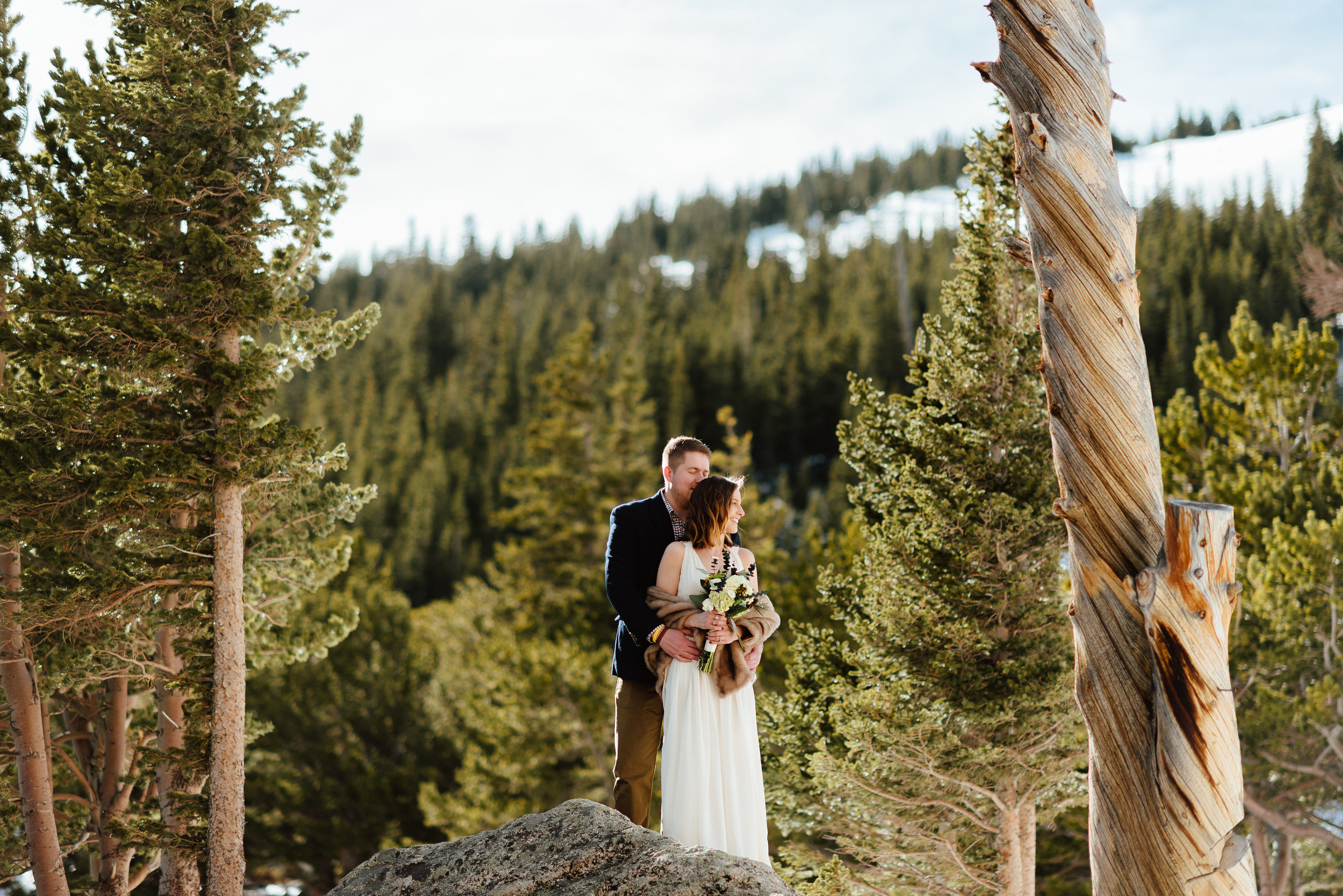 Kelsie and Tyler had such an intimate, mountain elopement nestled in the trees surrounding St. Mary's Glacier. I want to get married in Idaho Springs, Colorado's gorgeous mountain scenery!|Intimate elopement photos by mountain wedding photographer, Maddie Mae.