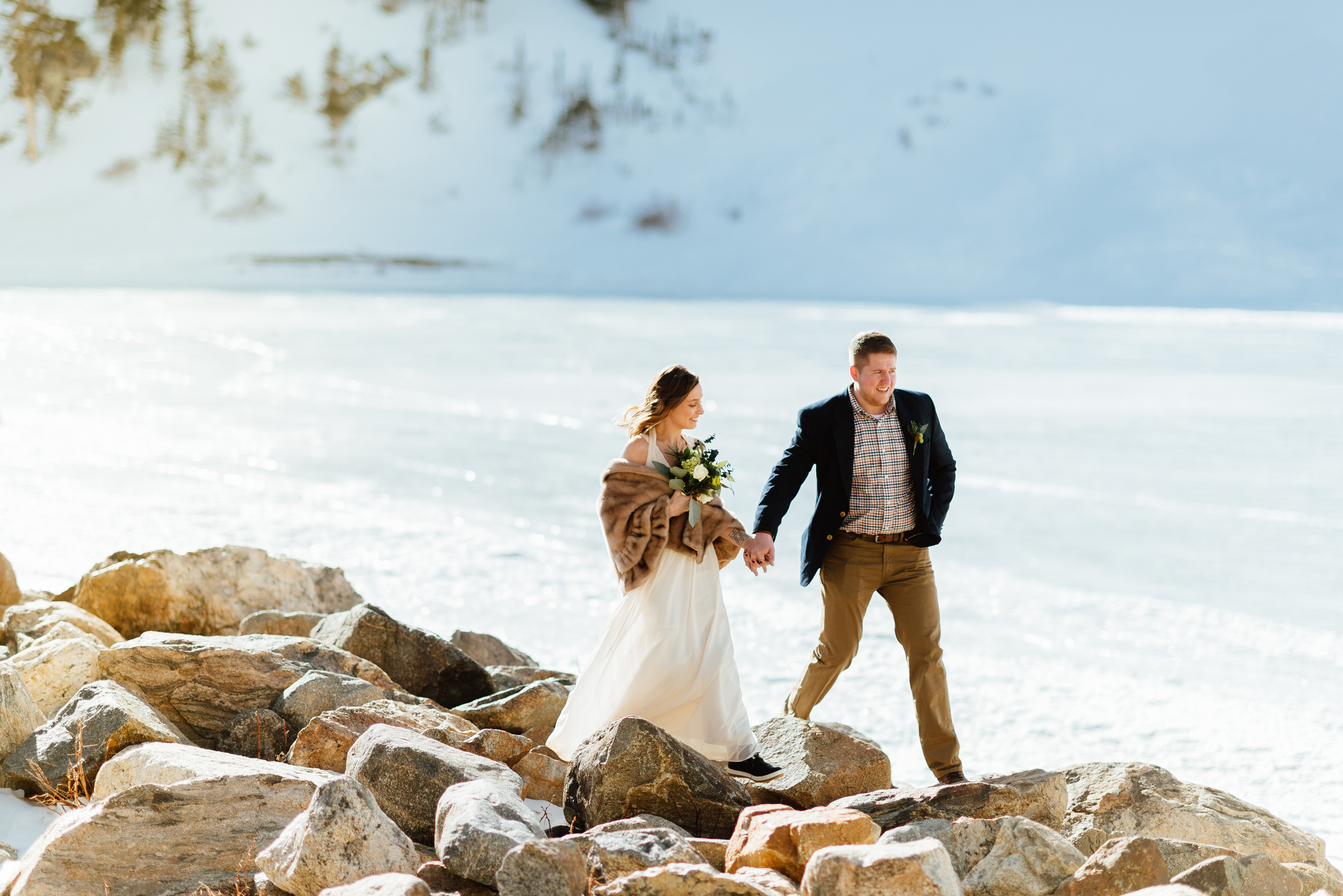 What an absolutely magical winter elopement at Saint Mary's Glacier in Idaho Springs, Colorado!I want to get married in a place that looks so intimate and romantic like the gorgeous Norwegian fjords!|Romantic elopement photos by intimate, mountain wedding photographer, Maddie Mae.