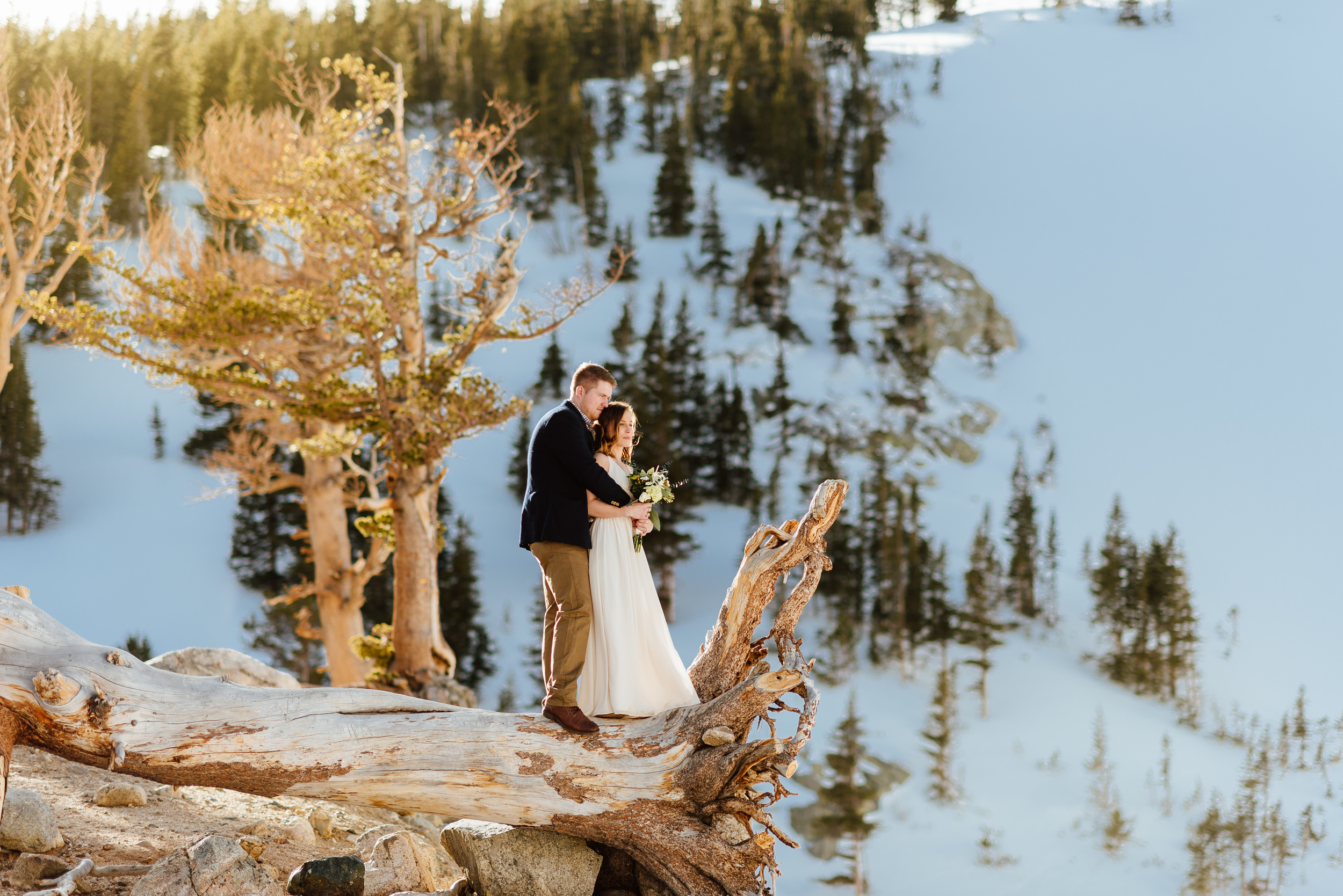 Wow. I want a wedding picture just like this one where Kelsie and Tyler are perched on a fallen log overlooking Saint Mary's Glacier! How incredible would it be to elope in the mountains in Idaho Springs, Colorado!?|Intimate, mountain elopement photos by adventure wedding photographer, Maddie Mae.