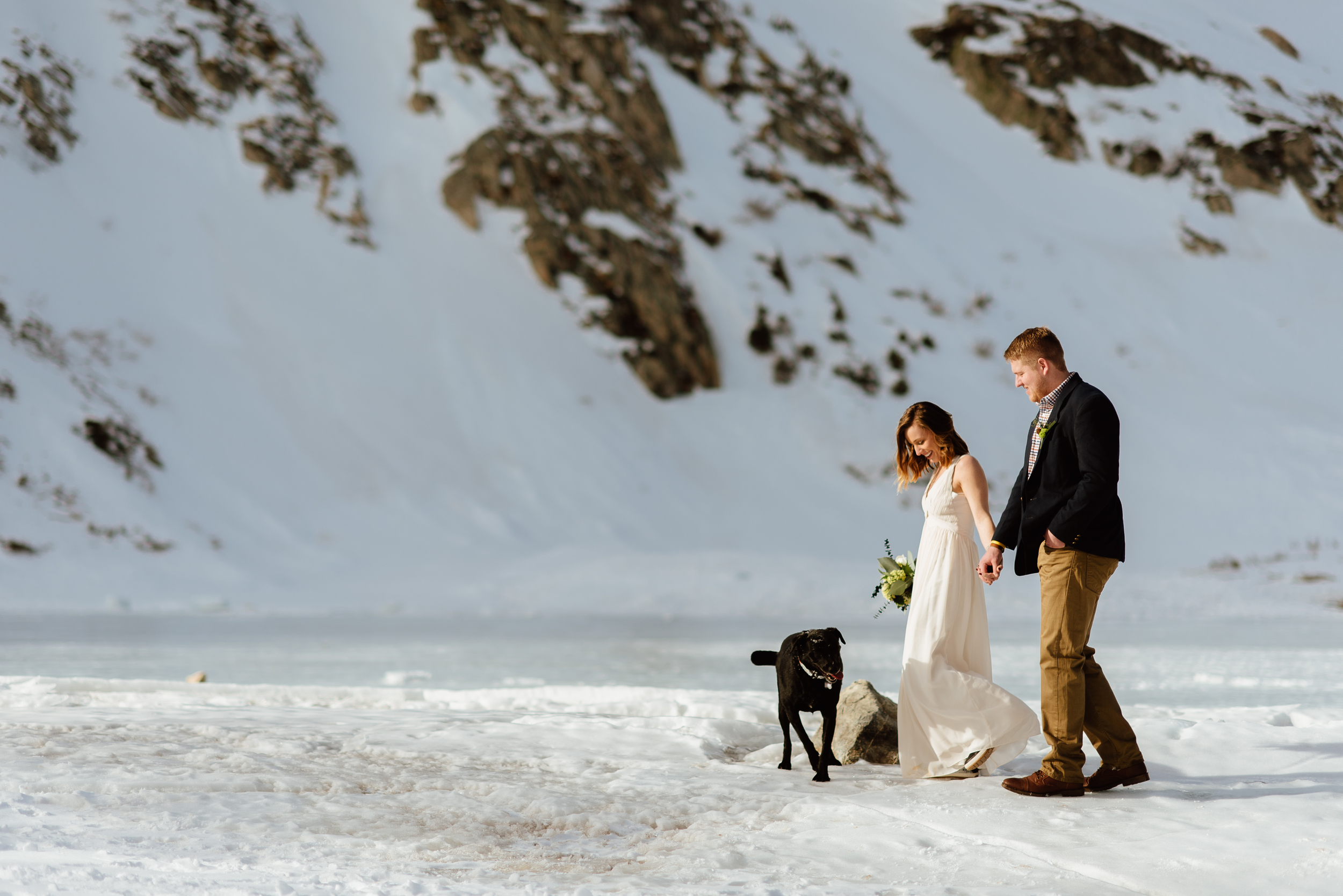 So cute how Kelsie and Tyler brought their pup along to their secluded, mountain elopement in the Rocky Mountains! I'd love to run away with my husband-to-be for such a romantic and intimate elopement experience!| Intimate wedding photos by mountain elopement photographer, Maddie Mae.