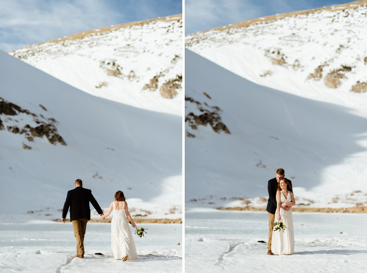 This adorable couple looks so cute playing in the snow on their wedding day up in Colorado's Rocky Mountains. It's such a great idea to have your intimate elopement somewhere so secluded like Saint Mary's Glacier!| Colorado wedding photos by intimate, elopement photographer, Maddie Mae.