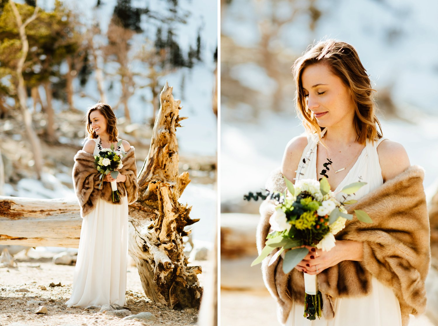 I absolutely love Kelsie's fur shawl and ivory wedding dress. She fits right in in the snowcapped mountains around St. Mary's Glacier in Idaho Springs, Colorado.| Winter, mountain wedding photos by intimate, elopement photographer, Maddie Mae.