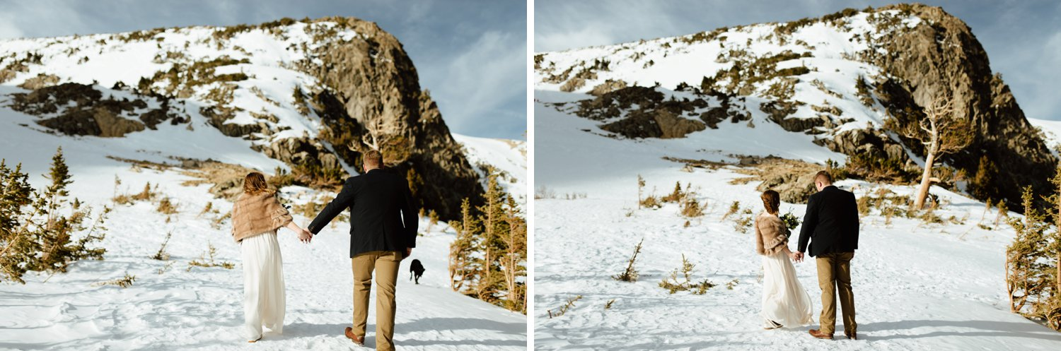 I love this rustic, mountain atmosphere at St. Mary's Glacier in Idaho Springs, Colorado. This bride and groom eloped in such a beautiful and intimate way!| Mountain wedding photos by intimate, elopement photographer, Maddie Mae.