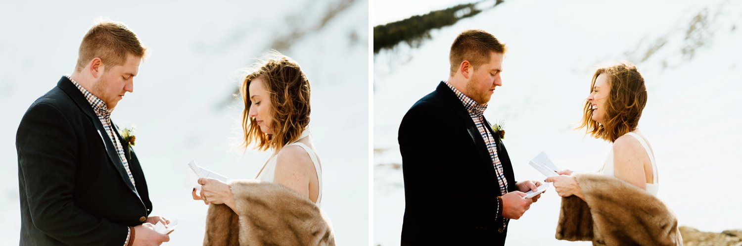 This outdoor elopement photographer captured every emotions Kelsie and Tyler felt while saying their vows. I absolutely love this snowy, mountain ceremony location.| Wild,mountain wedding photos by intimate, outdoor elopement photographer, Maddie Mae.