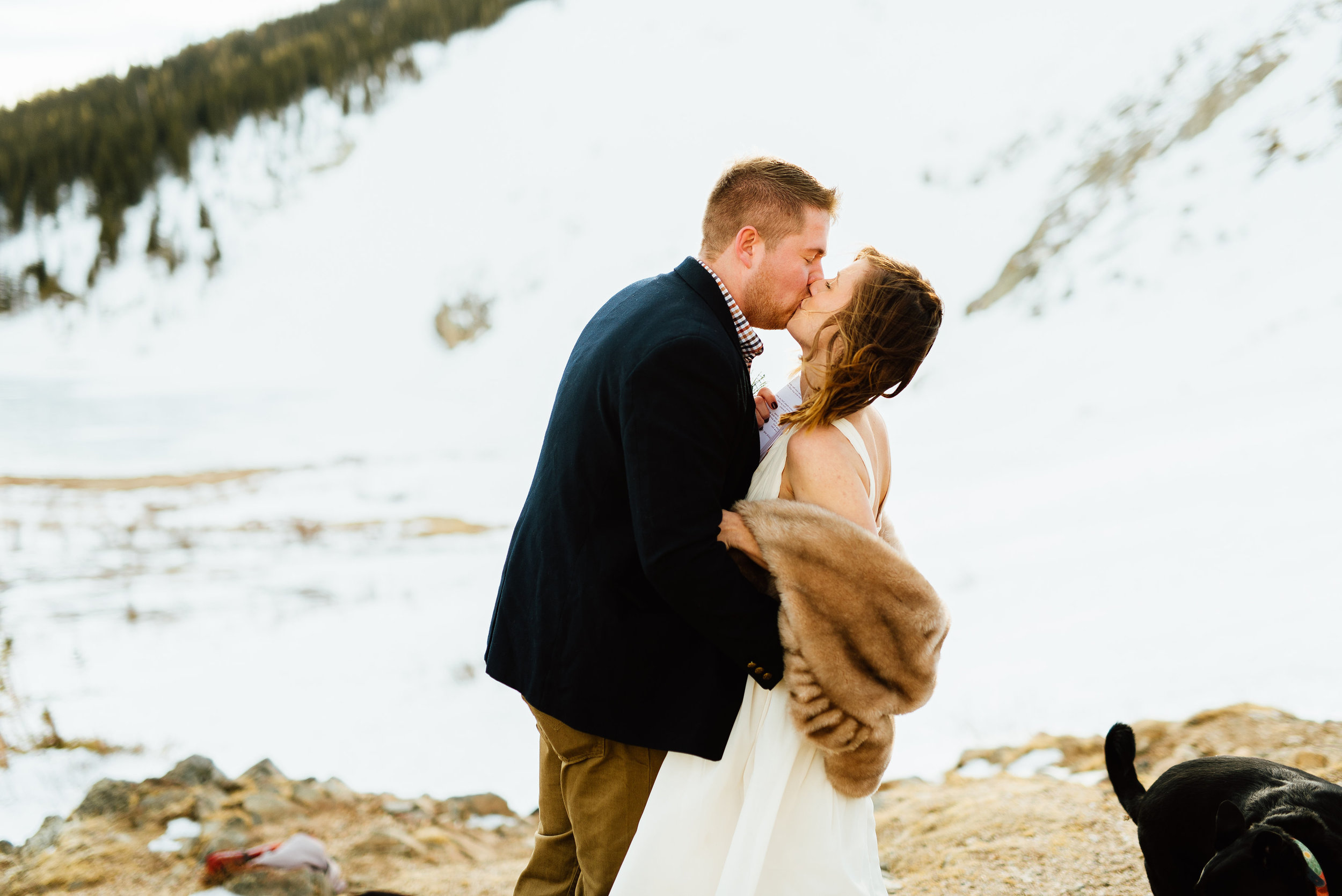 """They said """"I do""""! Congratulations to Kelsie and Tyler on their wedding. They couldn't have had a more beautiful location than to hike up to their ceremony spot at Saint Mary's Glacier in the Rocky Mountains.