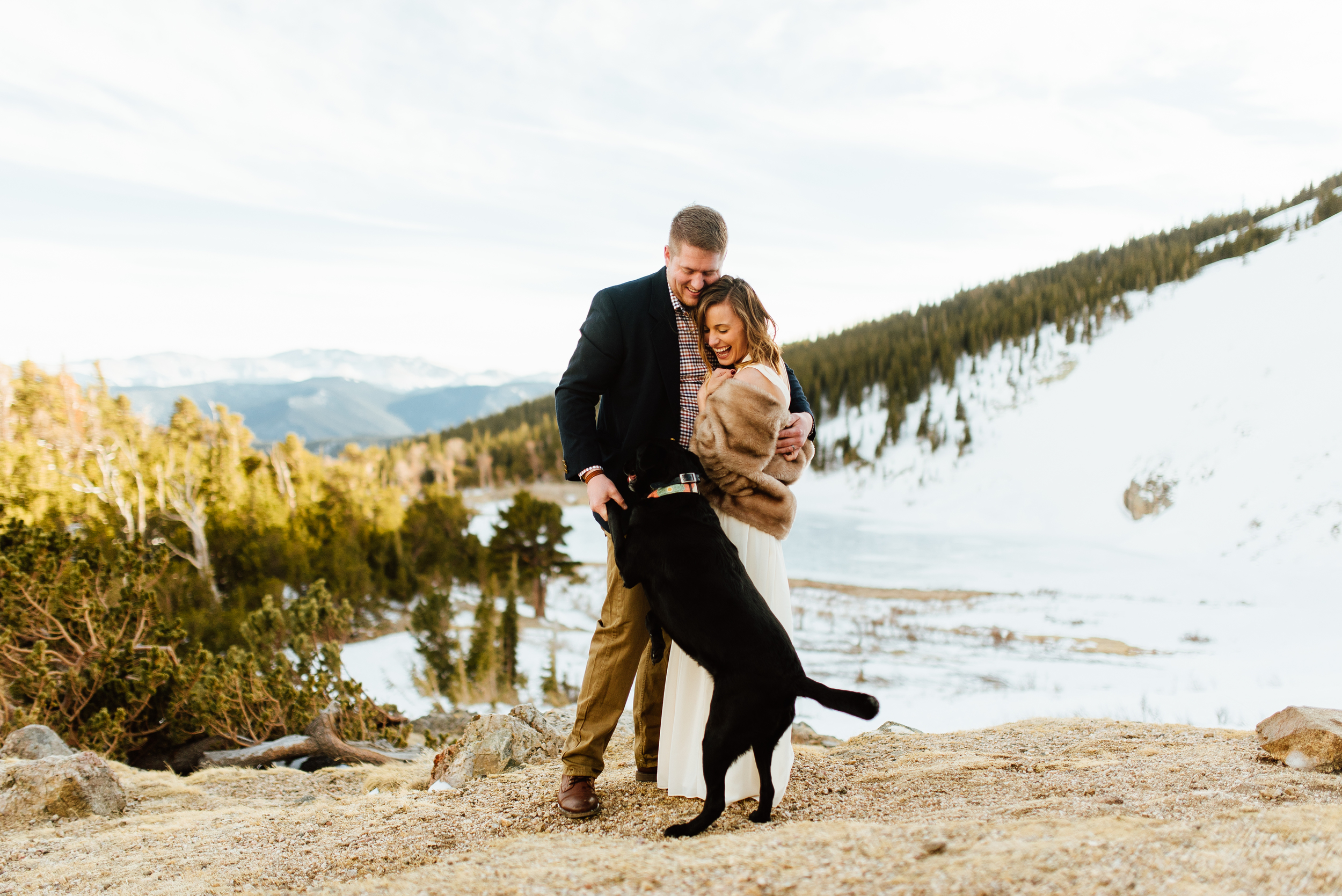 Even their dog is celebrating their new marriage. I love that Kelsie and Tyler eloped in the Rocky Mountains!| Mountain wedding photos by intimate, outdoor elopement photographer, Maddie Mae.