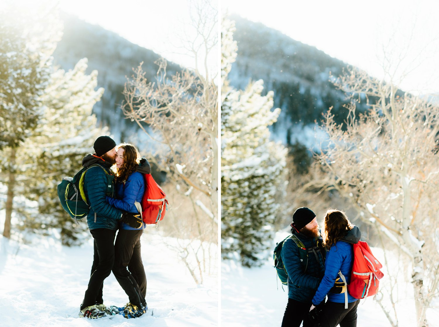 This happy couple is celebrating their engagement by spending a day snowshoeing through the Rocky Mountains! I want to do a hiking engagement shoot with my new fiancé at Lose Lake in the Indian Peaks Wilderness Area!!| Snowshoeing engagement photos by adventurous Colorado engagement photographer, Maddie Mae.