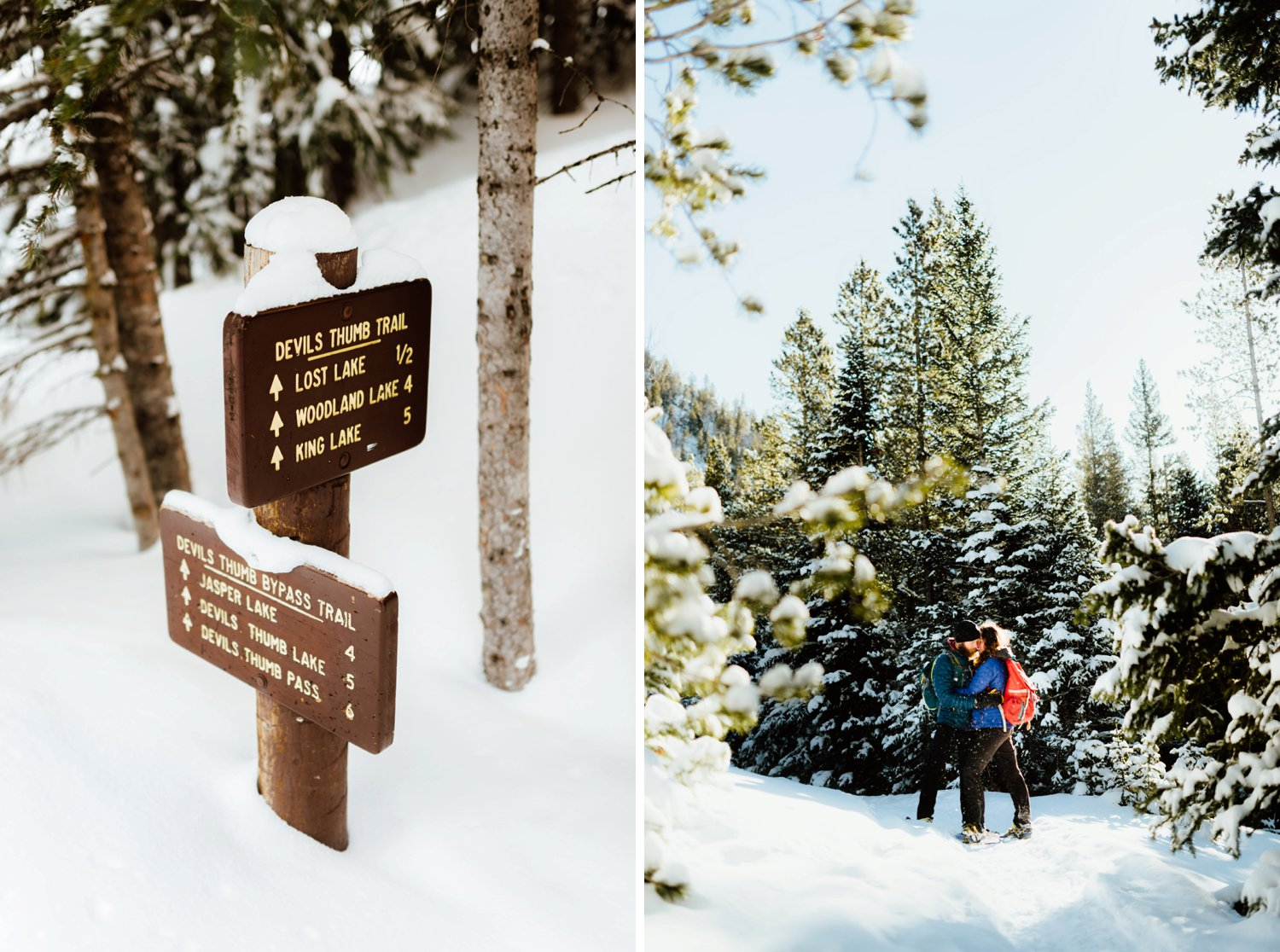 Pure romance happening here at this breathtaking winter, mountain engagement photoshoot. Indian Peaks Wilderness area has the most amazing trails to snowshoe like Lost Lake and Devil's Thumb Pass... I want to have my engagement session here!| Lost Lake engagement photos by adventurous Colorado wedding photographer, Maddie Mae.