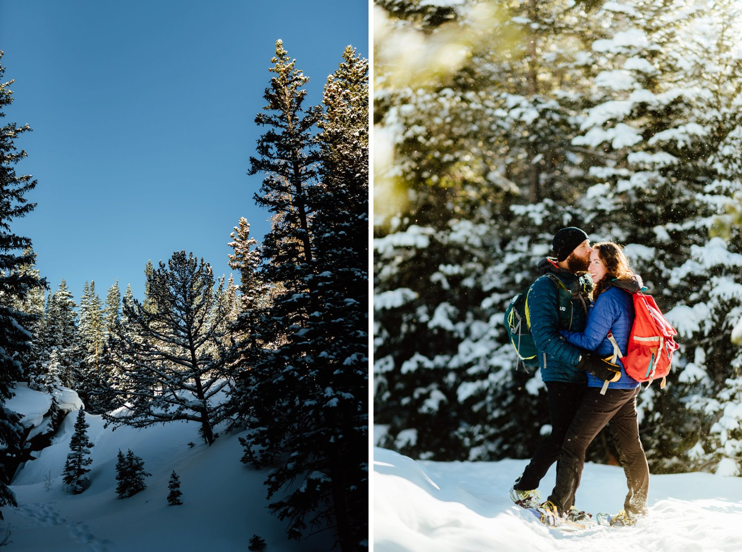 How beautiful is this snowy mountain forest in Indian Peaks Wilderness Area? Lost Lake is such a romantic place among the Rocky Mountains to have an intimate and adventurous engagement photoshoot.| Rocky Mountain engagement photos by adventurous Colorado wedding photographer, Maddie Mae.
