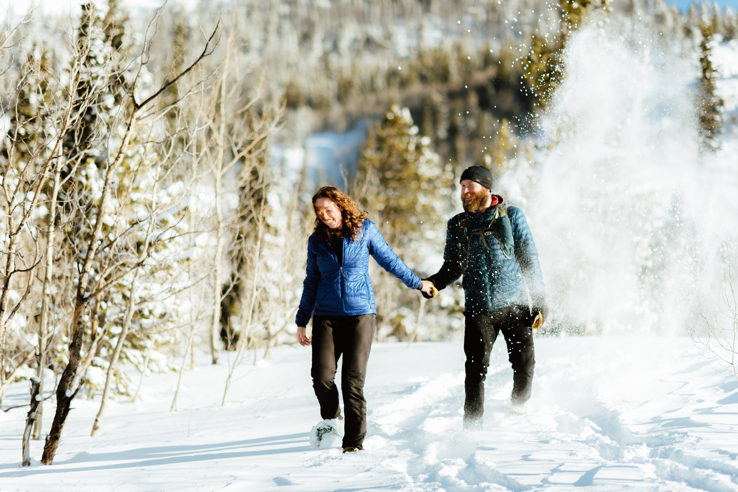 I want to have my engagement photoshoot at Lost Lake in Colorado! I absolutely love the idea of doing a snowshoeing session in the winter! So romantic...| Intimate engagement photos by adventurous Colorado wedding photographer, Maddie Mae.
