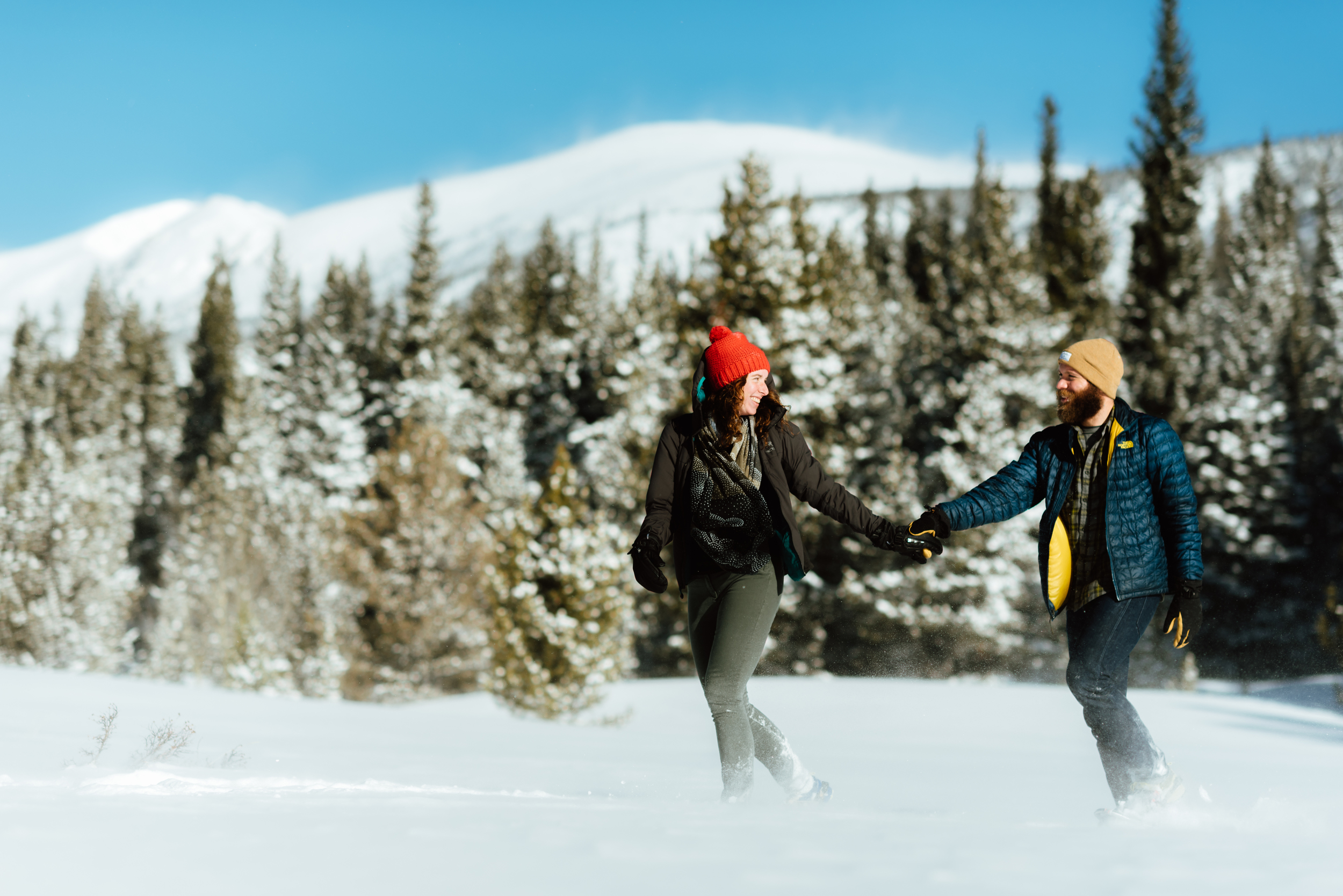 There is seriously not a more romantic setting than the mountains in the winter. I really want my engagement photos here at Lost Lake in Indian Peaks!| Intimate engagement photos by Colorado engagement photographer, Maddie Mae.