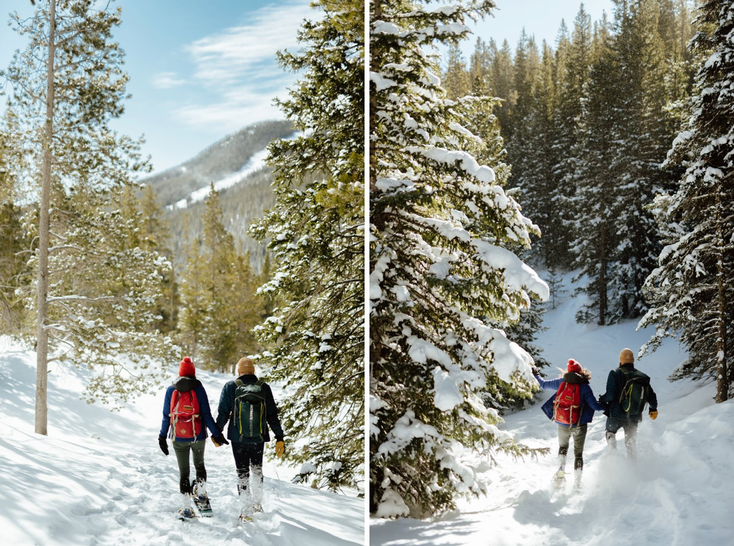 """I never would've thought to do such an intimate and adventurous engagement photoshoot! What a great idea to go snowshoeing in the mountains with an adventurous engagement photographer before you say """"I Do""""!