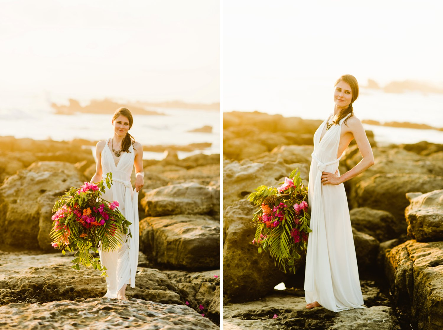 How gorgeous is this drapey wedding dress? I love a loose dress for a casual beach wedding!  Destination wedding photography by adventure elopement photographer, Maddie Mae.