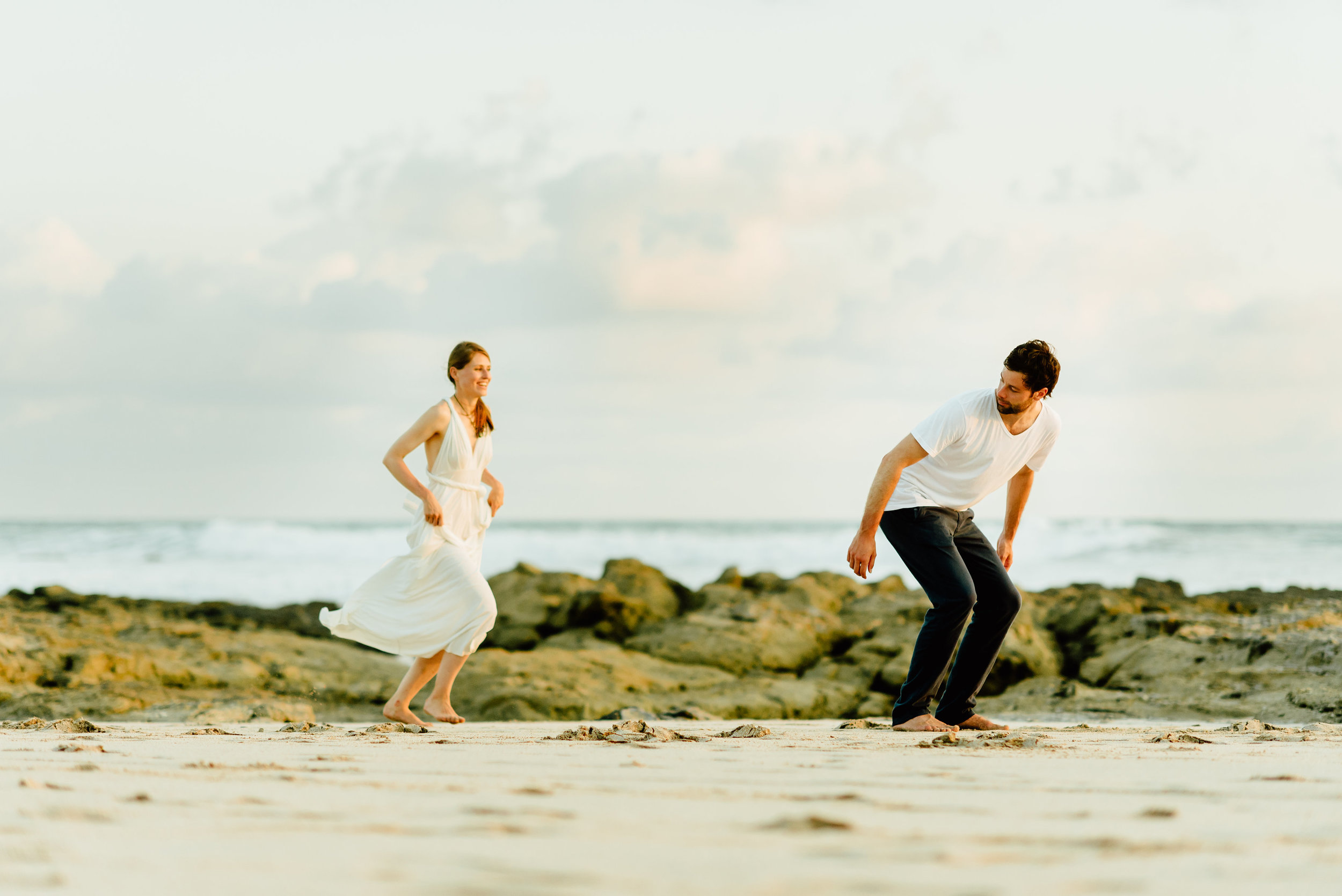 How cute is this moment... right before a piggy back ride on the romantic Nicoya Peninsula in Costa Rica!?! I can't wait for our destination beach elopement!  Destination wedding photography by Costa Rica wedding photographer, Maddie Mae.
